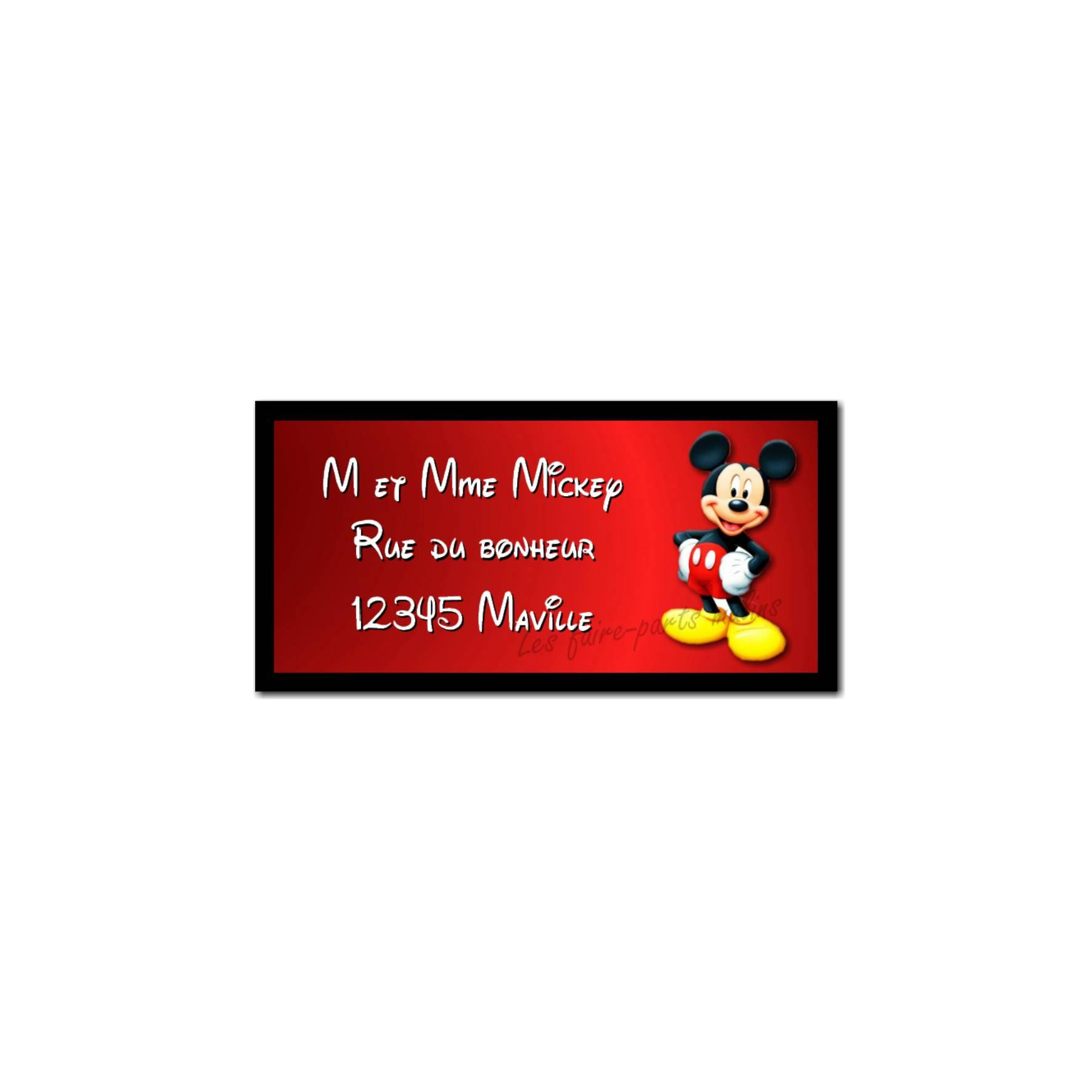 étiquette adresse mickey