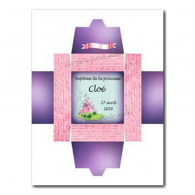 Boite dragées chateau de princesse rose et violet