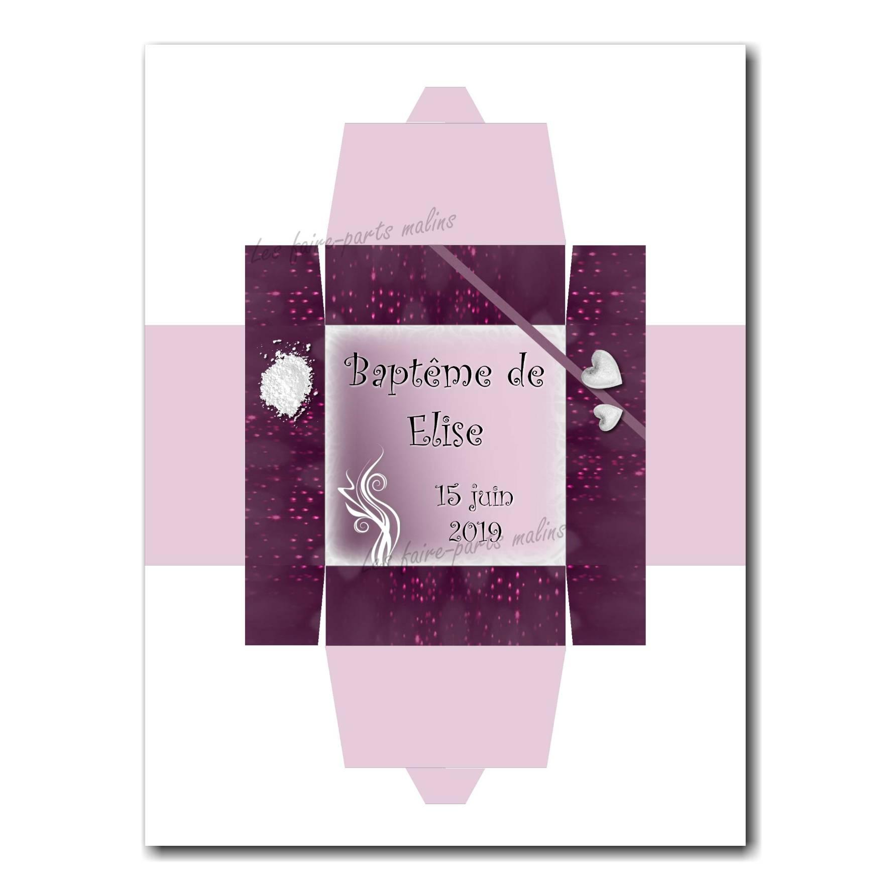 Boite dragées parme et violet