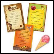 Carte de menu amusante, multicolore et thème enfant