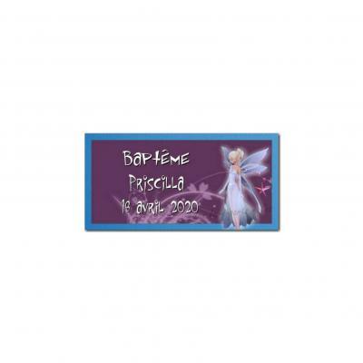 Etiquette dragées fée violet
