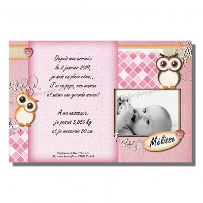 Faire part hibou rose et marron beige