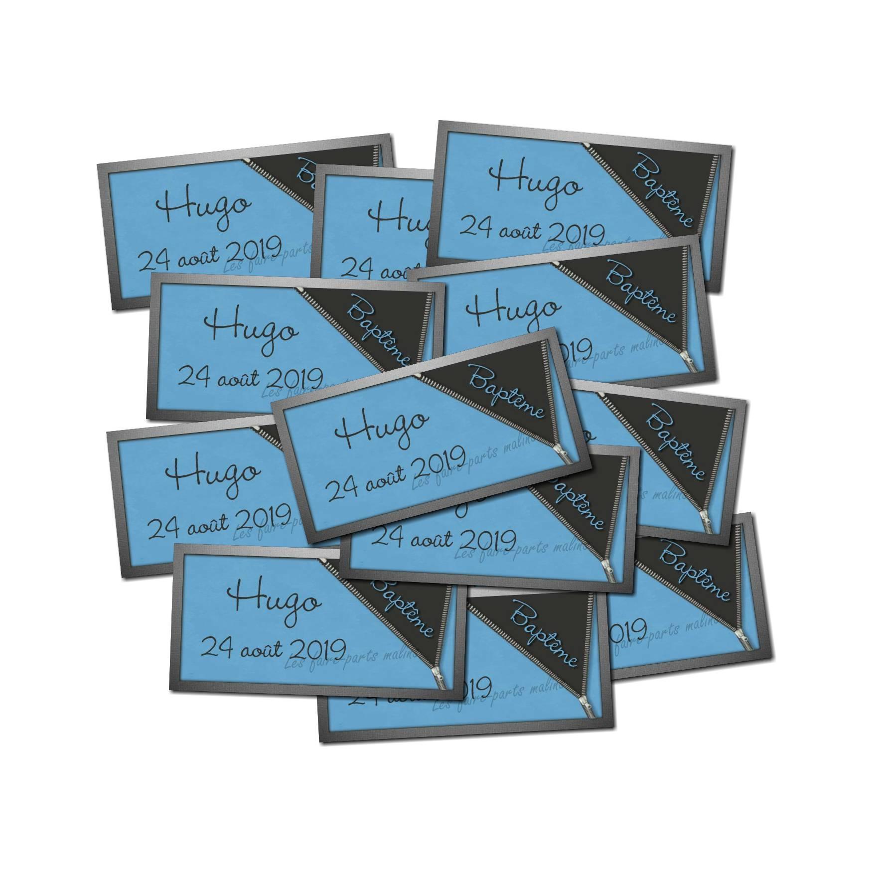 Lot etiquettes dragées gris foncé et bleu zip