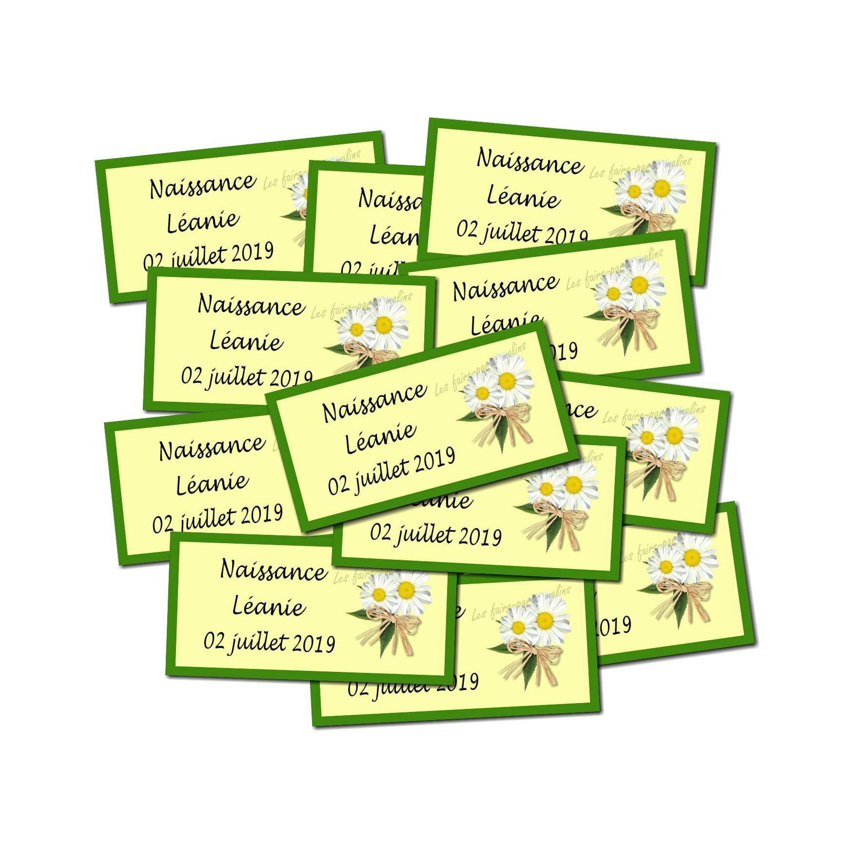 Lot Etiquette dragées marguerite jaune et vert