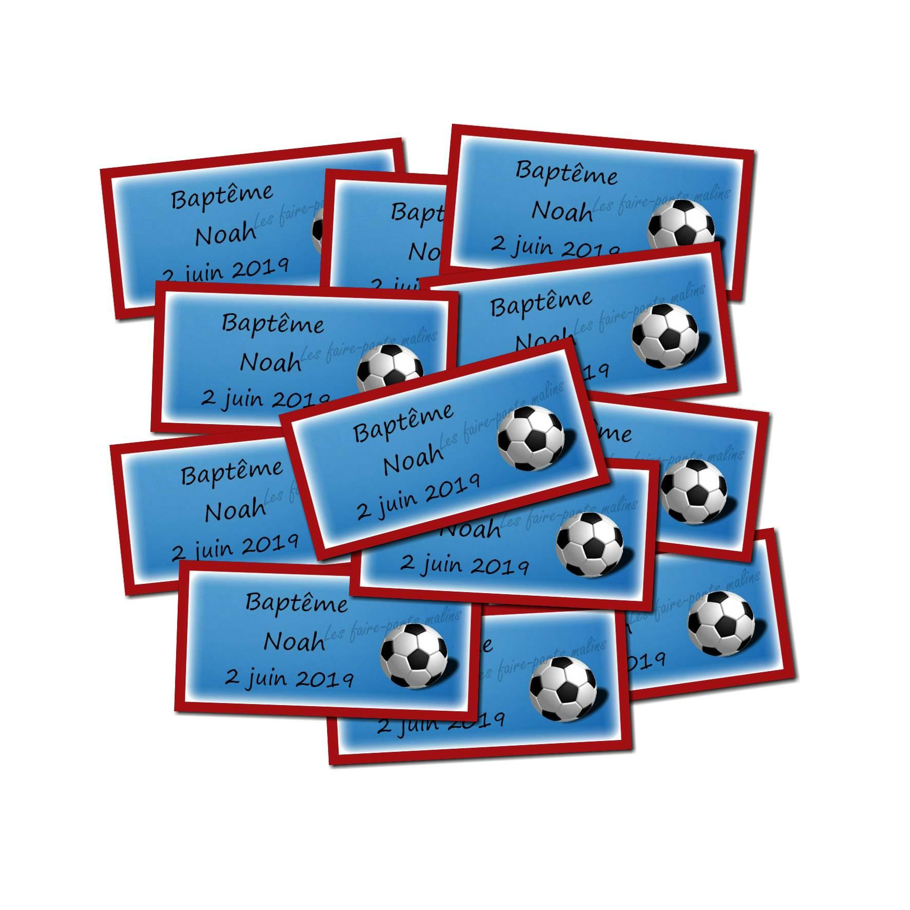 Lot etiquettes dragées ballon de foot couleur drapeau français