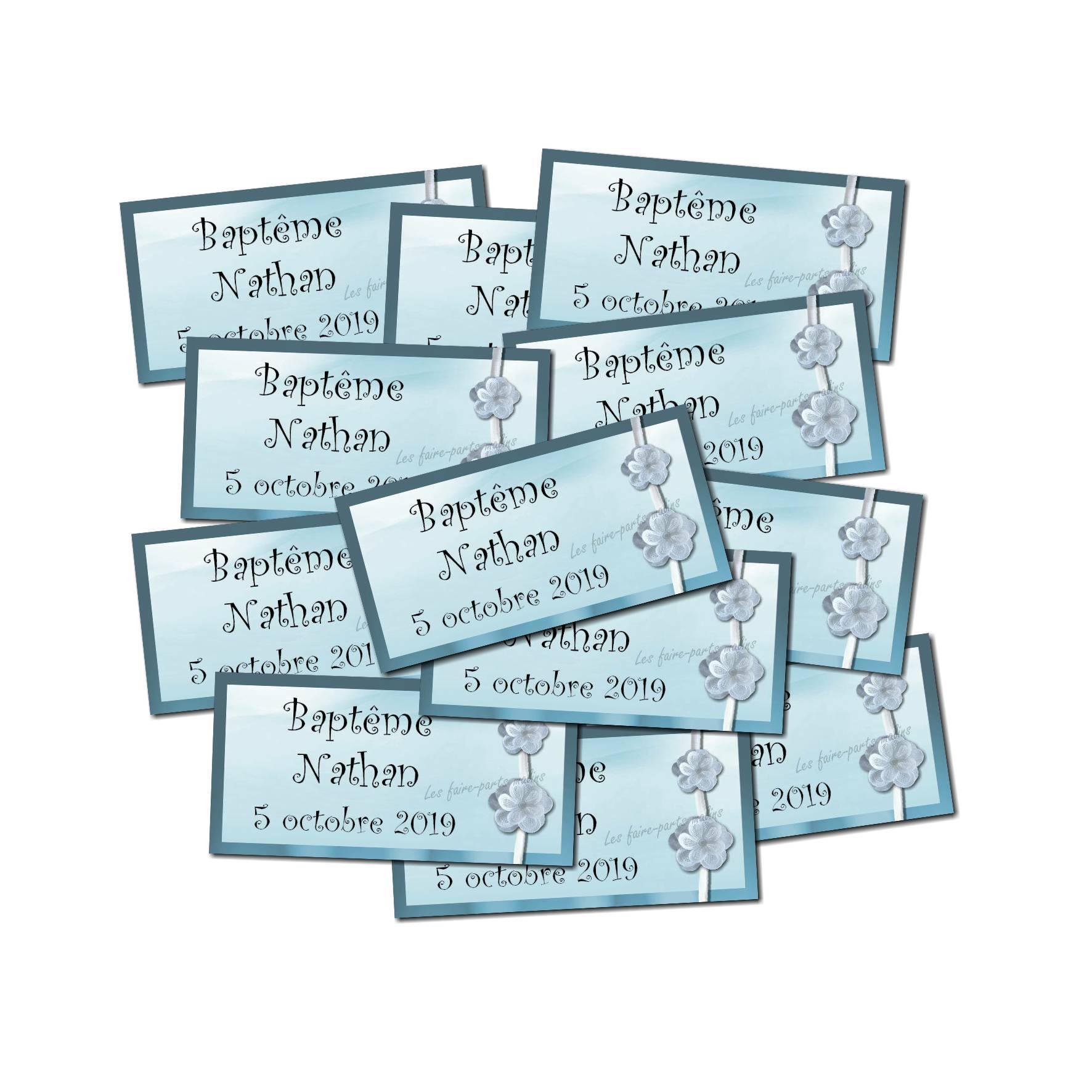 Lot etiquettes dragées bleu et blanc fleur