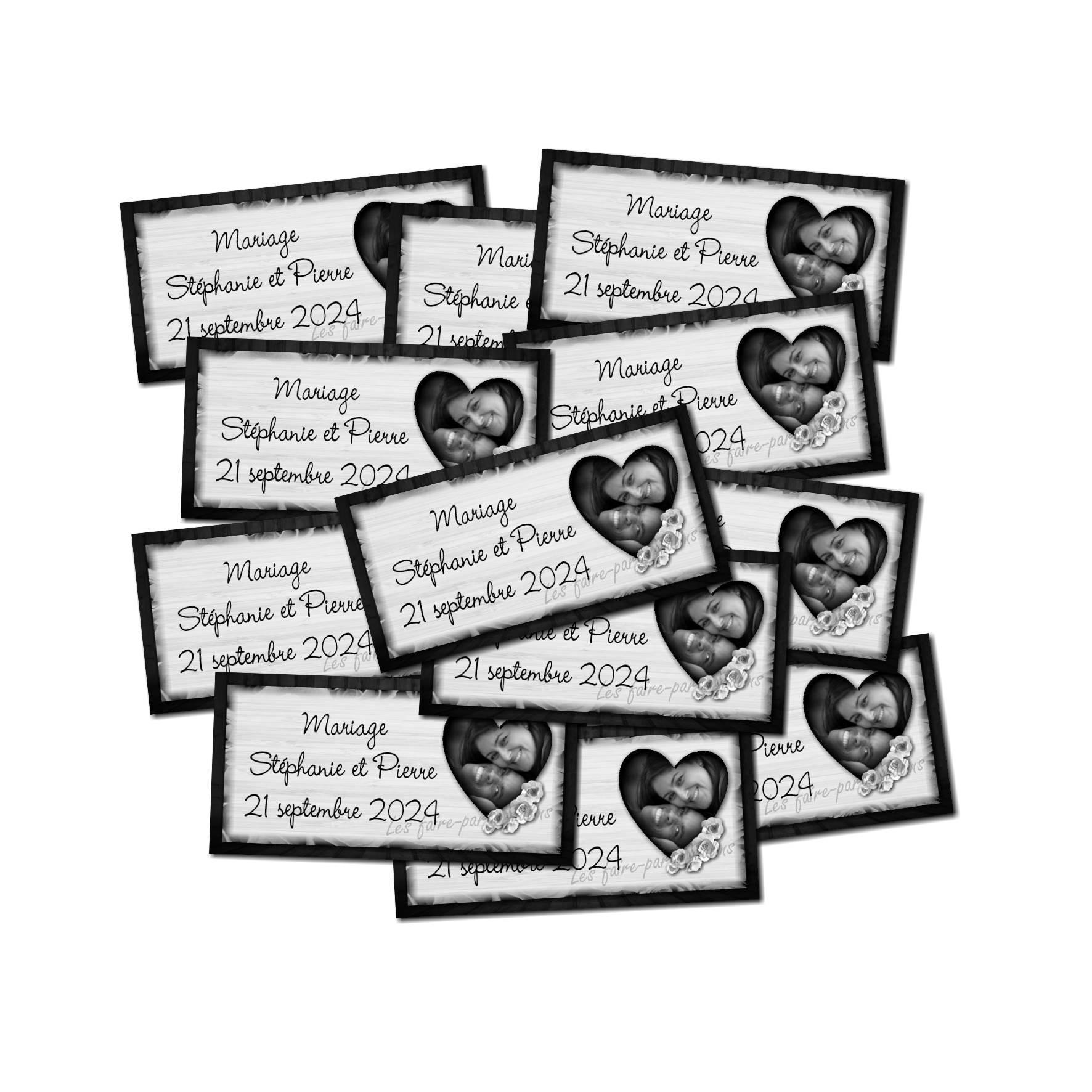 Lot Etiquette dragées coeur en noir et blanc