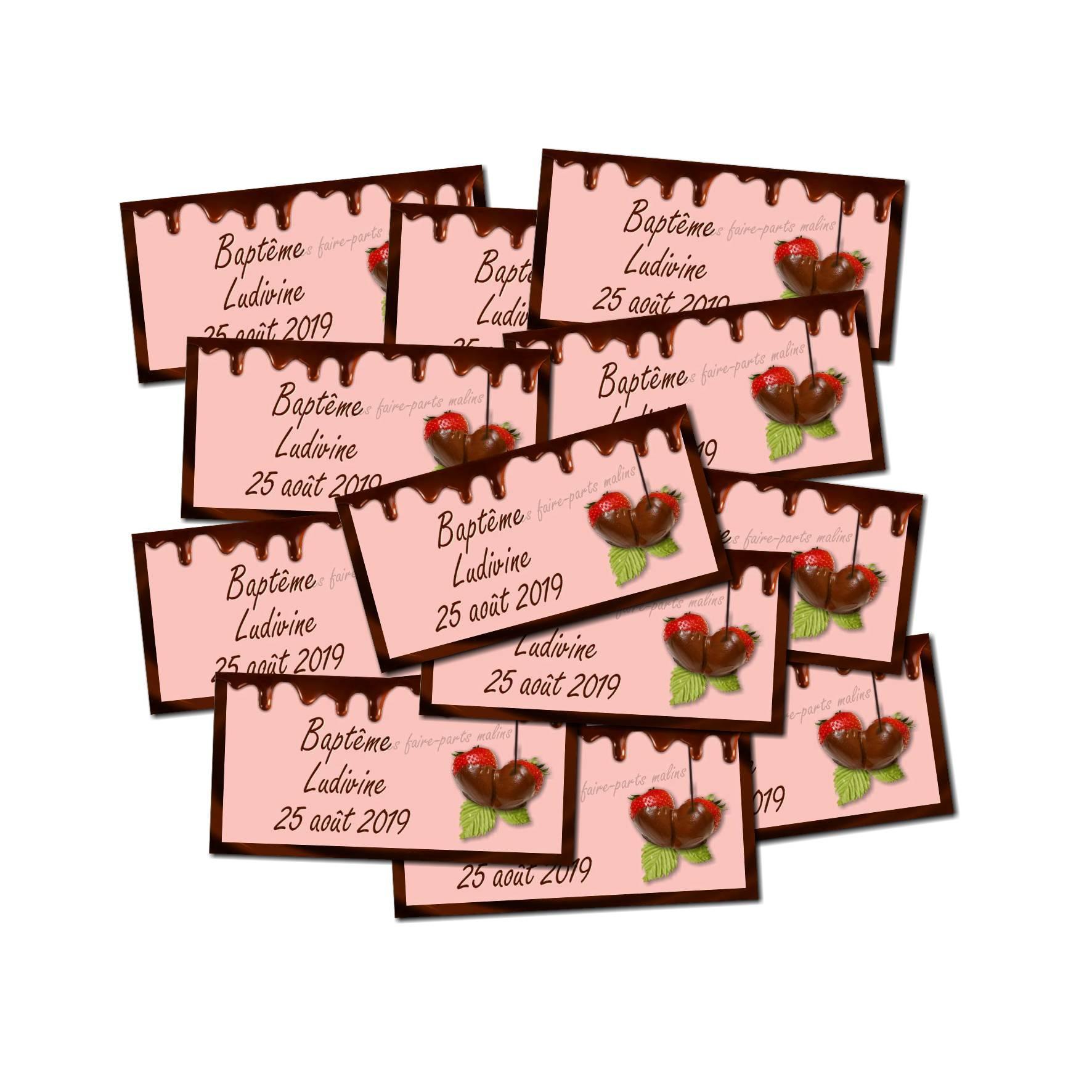 Lot Etiquette dragées chocolat rose