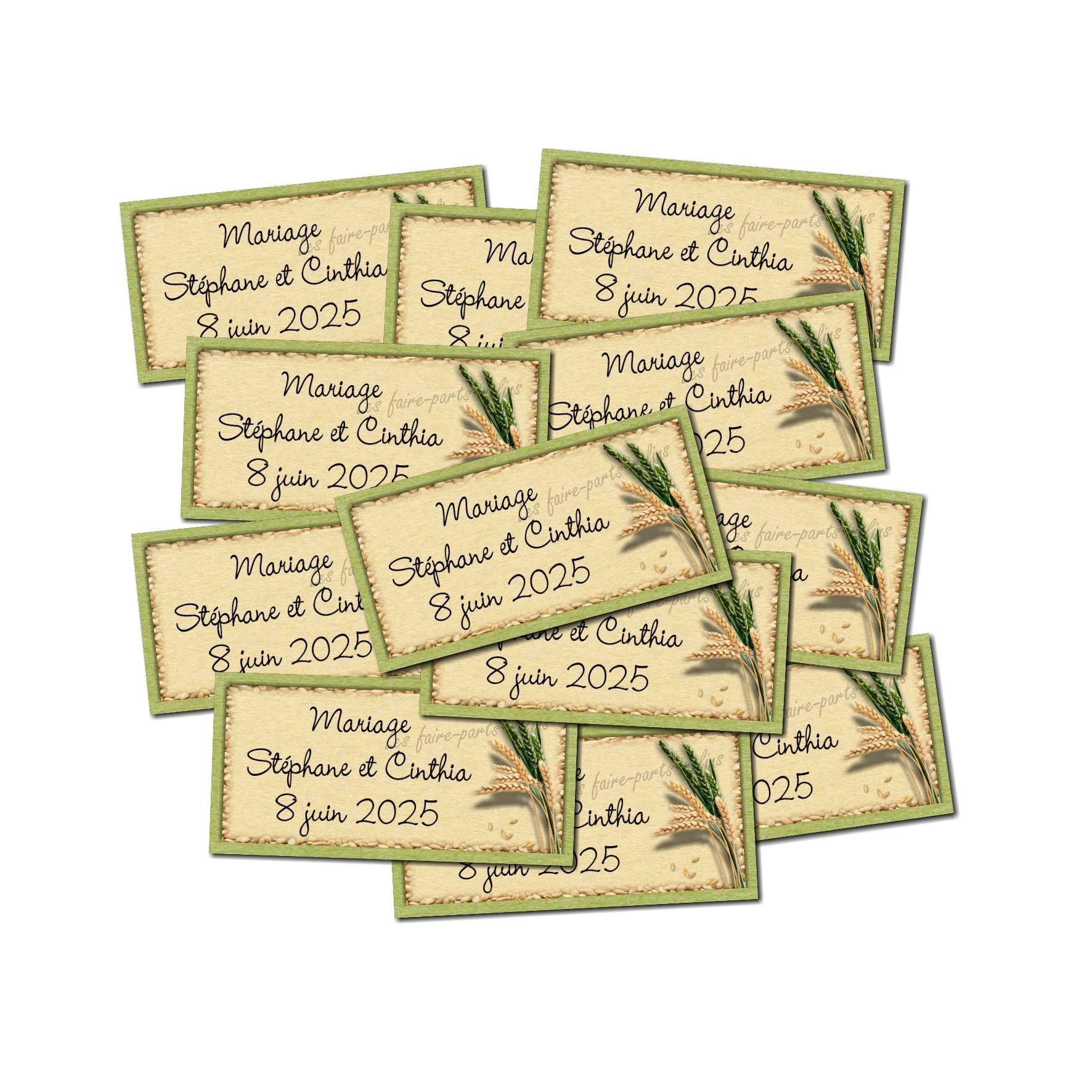 Lot Etiquette dragées épis de blé vert