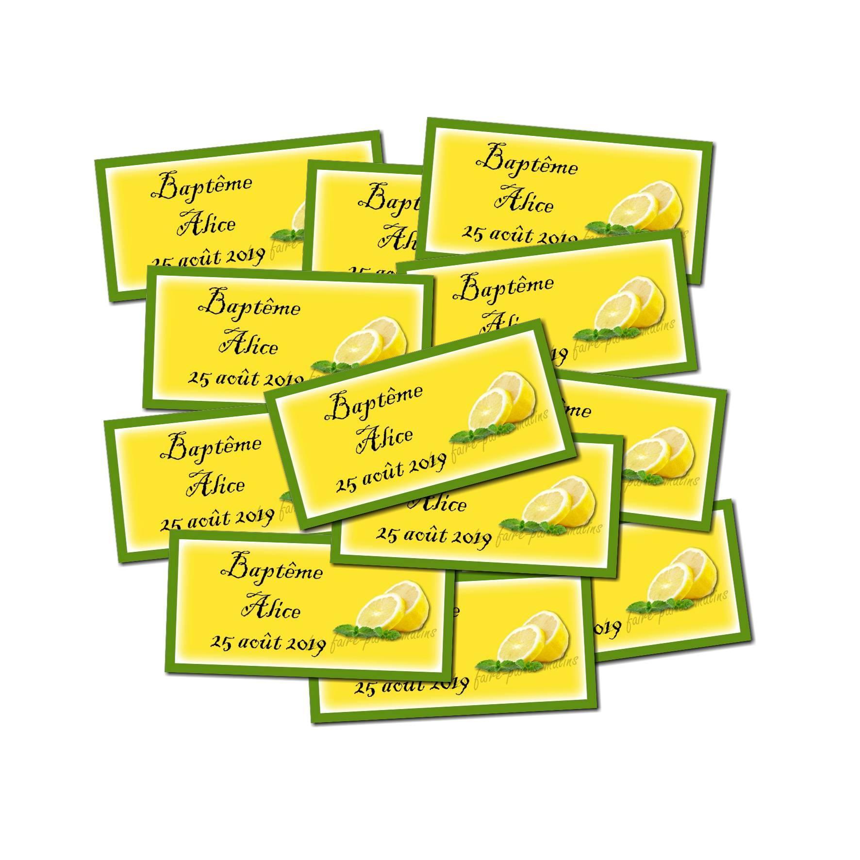 Etiquette dragées autocollante citron