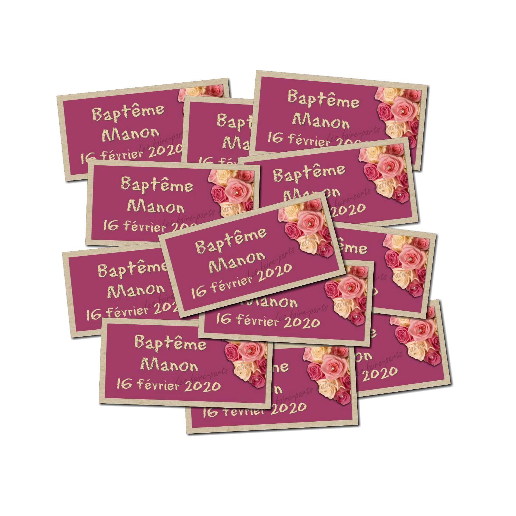 Lot Etiquette dragées bouquet de roses