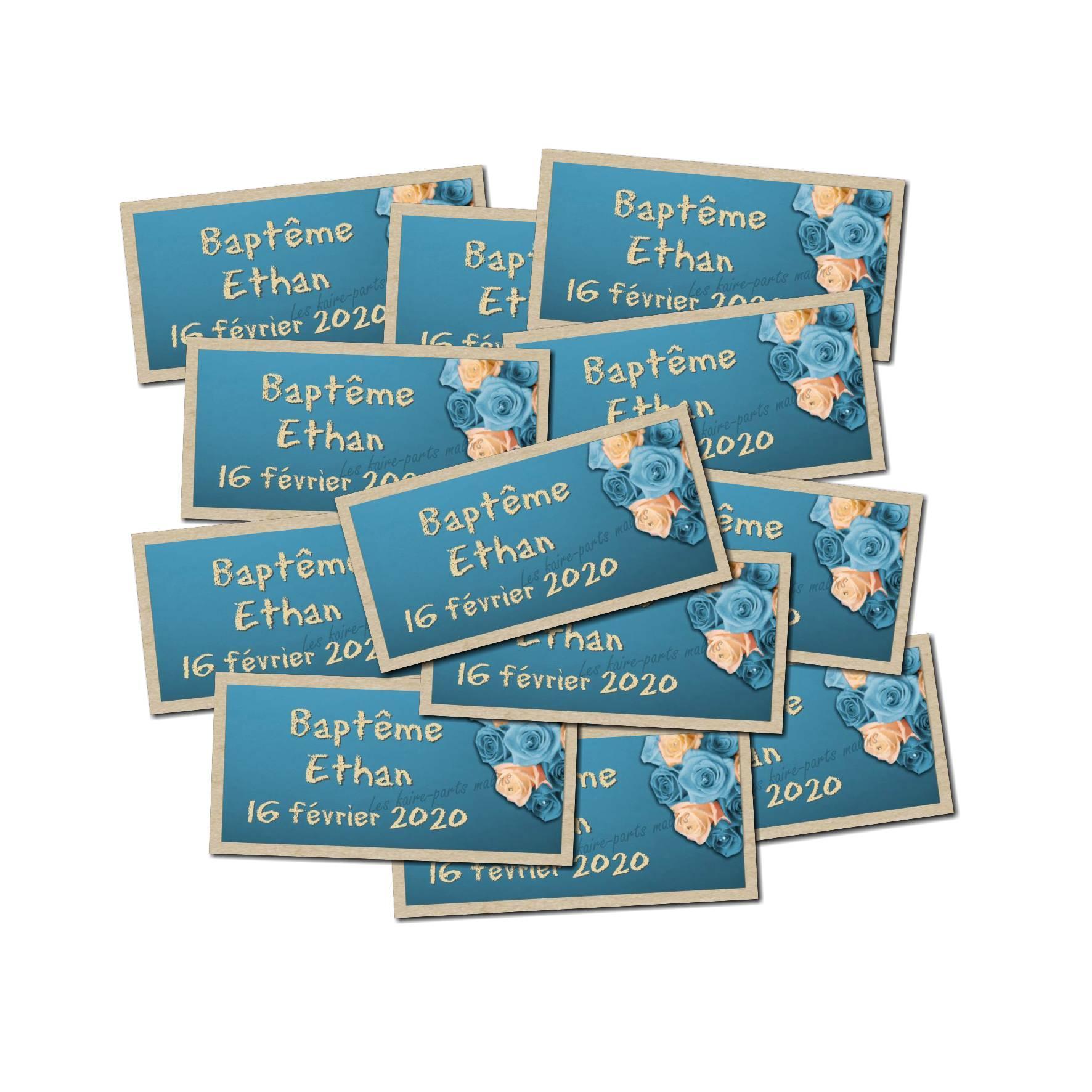 Lot etiquettes dragées bouquet fleur beige et bleu
