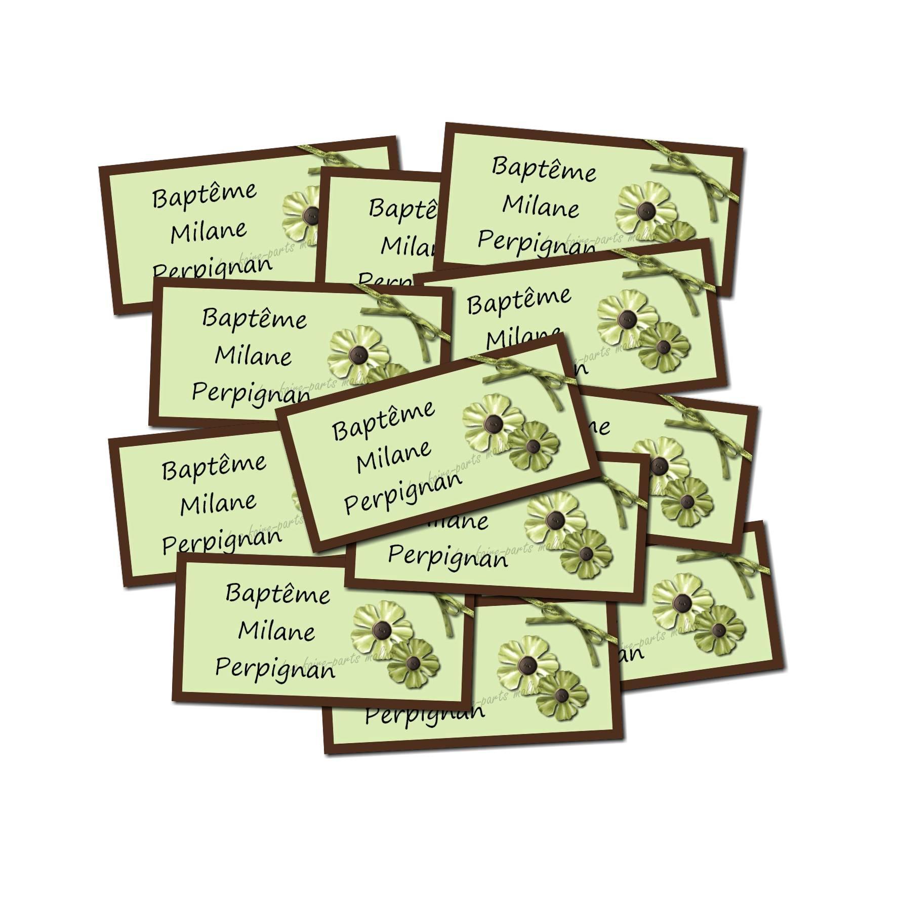 Etiquette dragées autocollante fleur verte