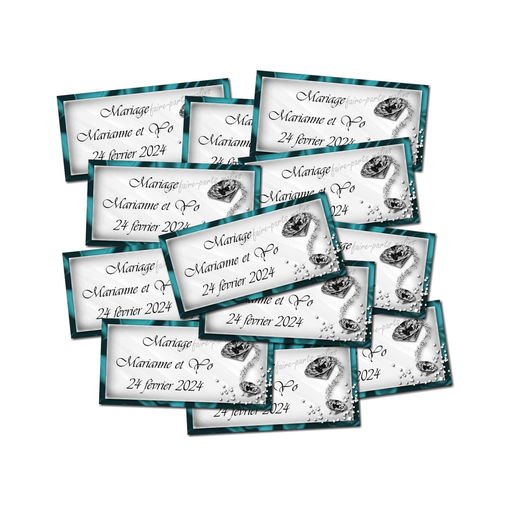 Lot Etiquette dragées turquoise et blanc avec diamants