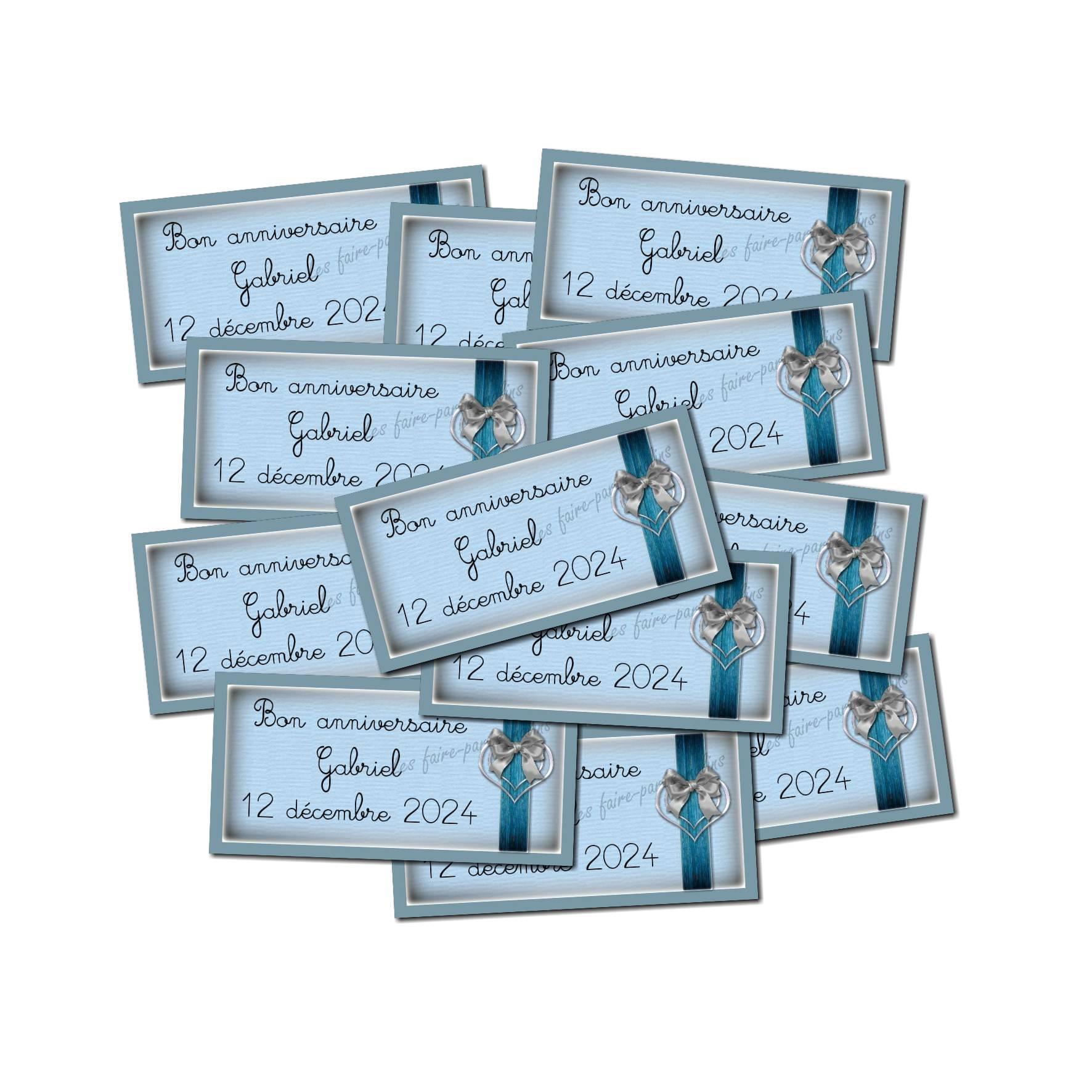 Lot etiquettes dragées bleu et gris ruban entrelacé coeur