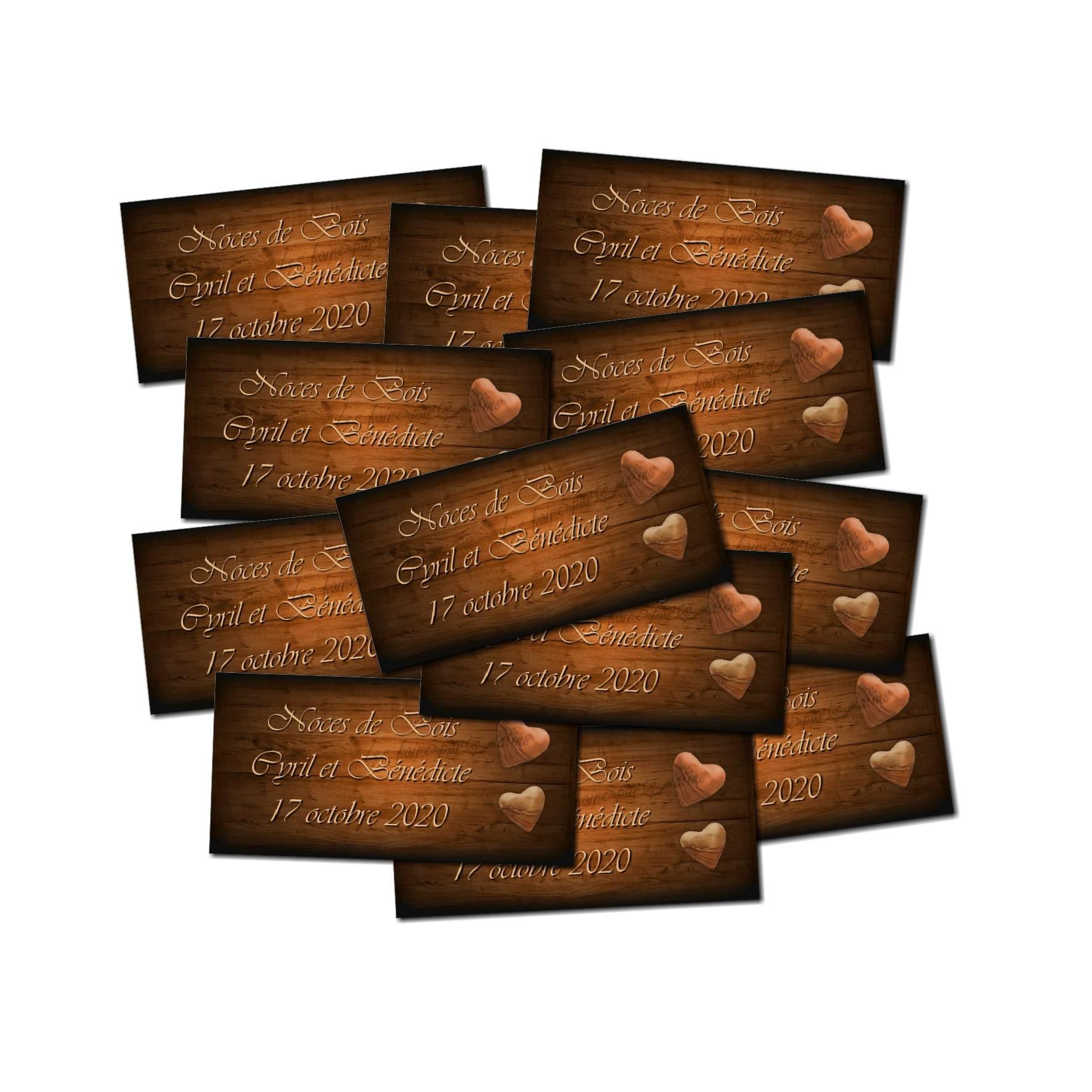 Lot Etiquette dragées coeur en bois