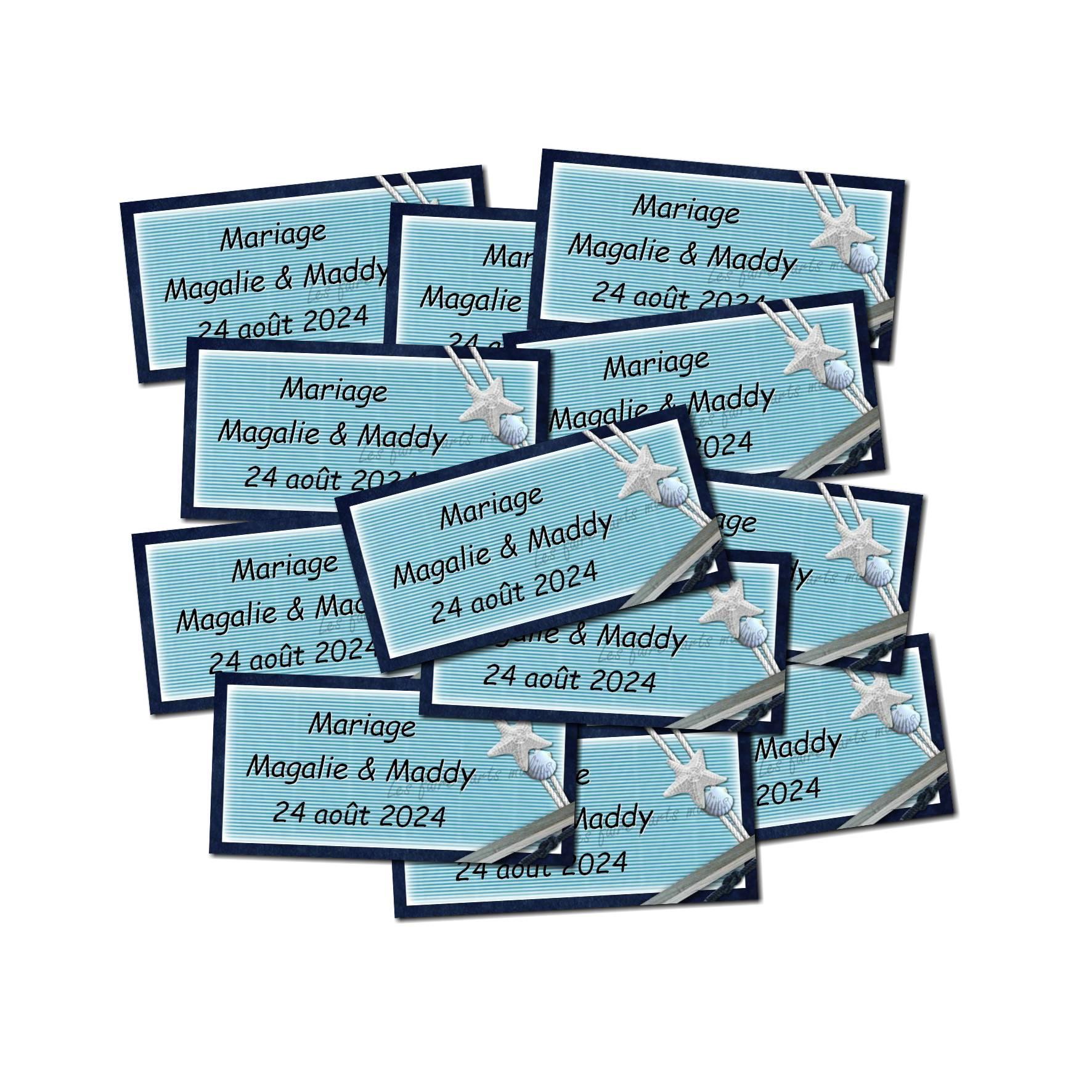 Lot Etiquette dragées bleu océan avec coquillage