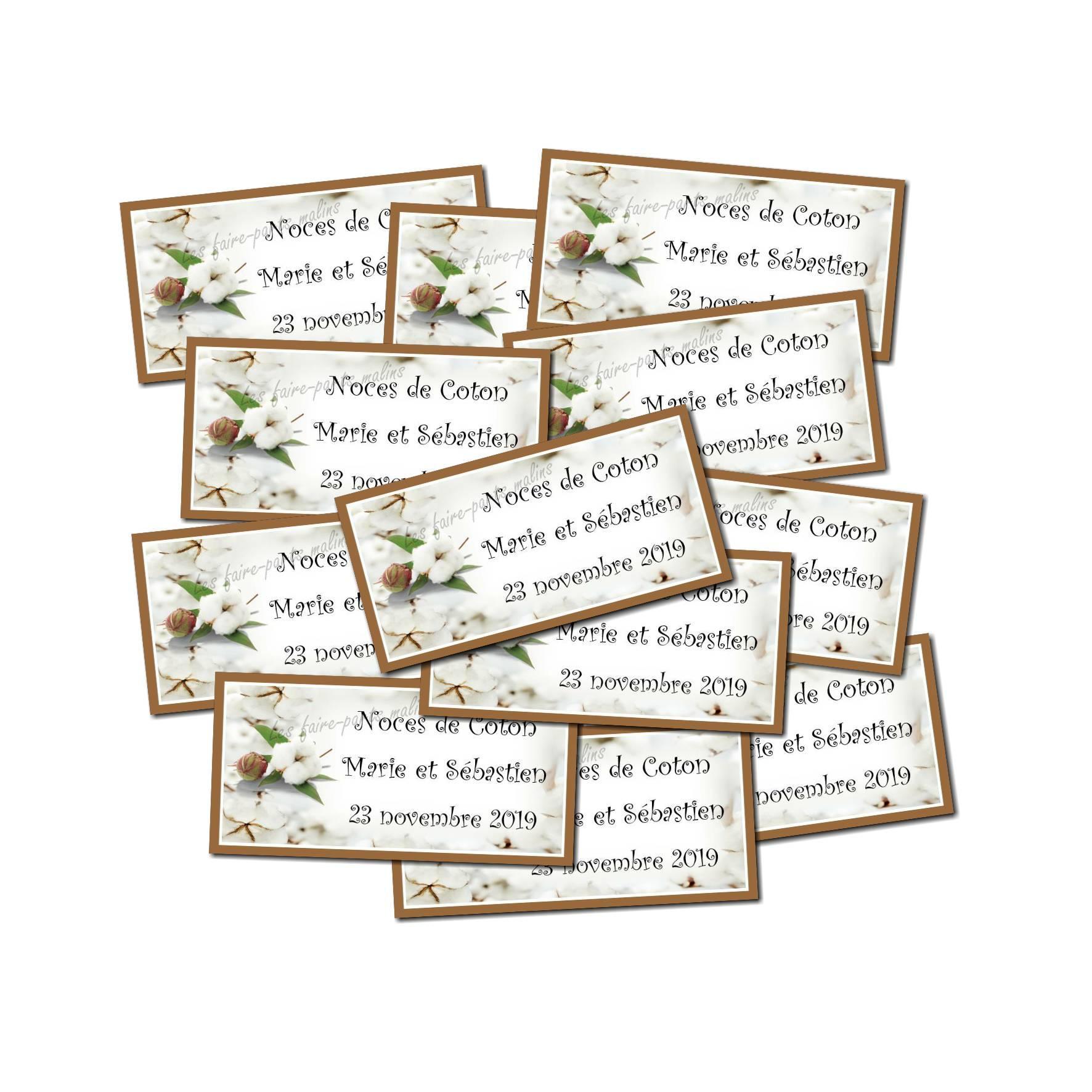 Lot Etiquette dragées fleur de coton