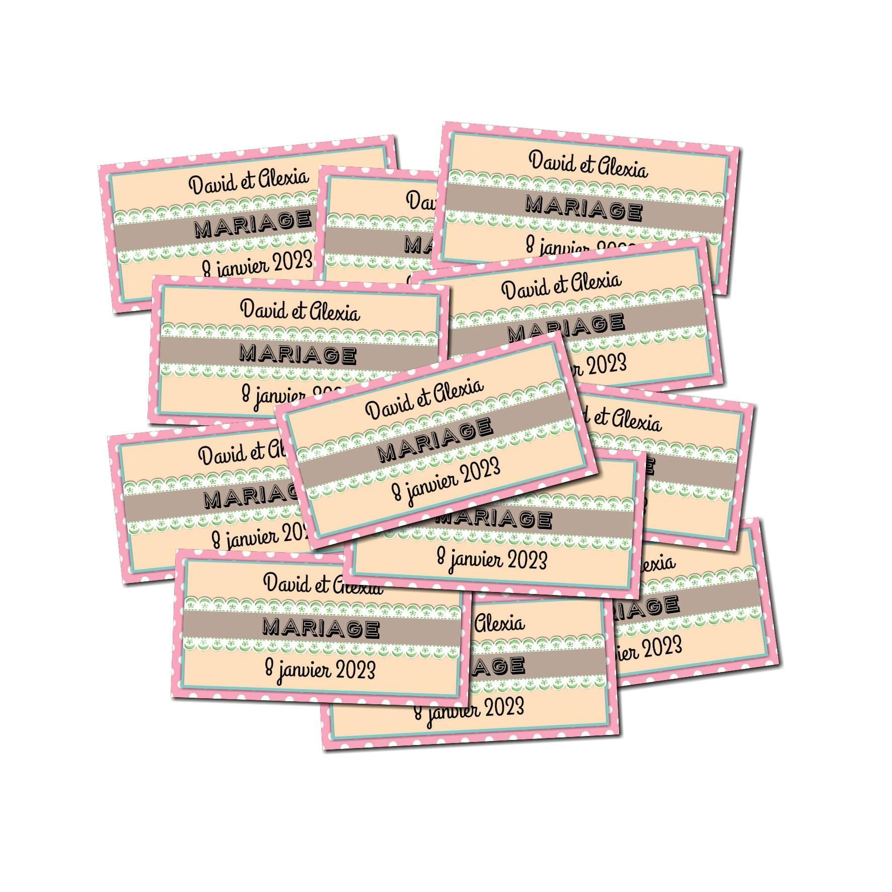 Lot Etiquette dragées vintage fond rose à pois