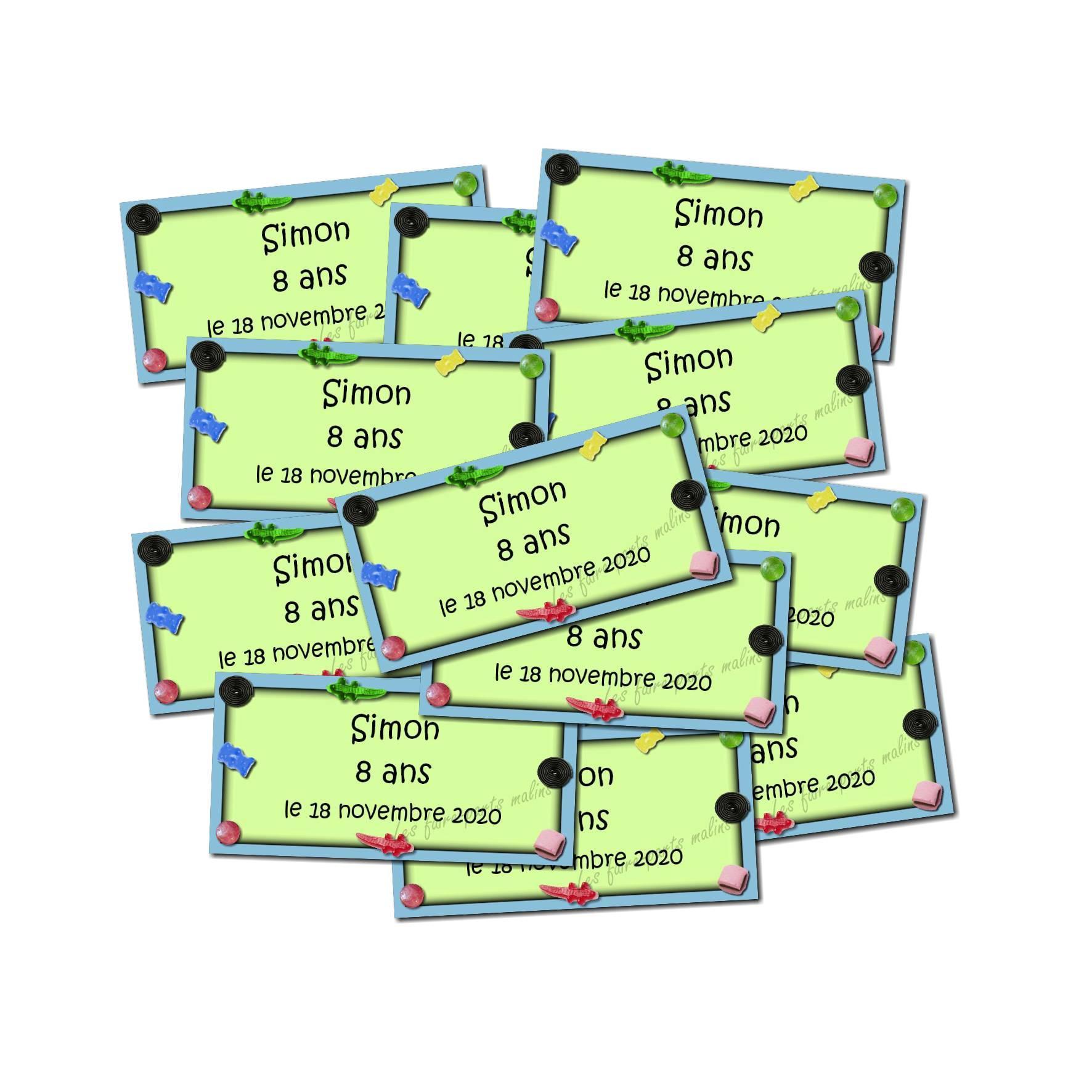 Lot etiquettes dragées bonbon vert et bleu