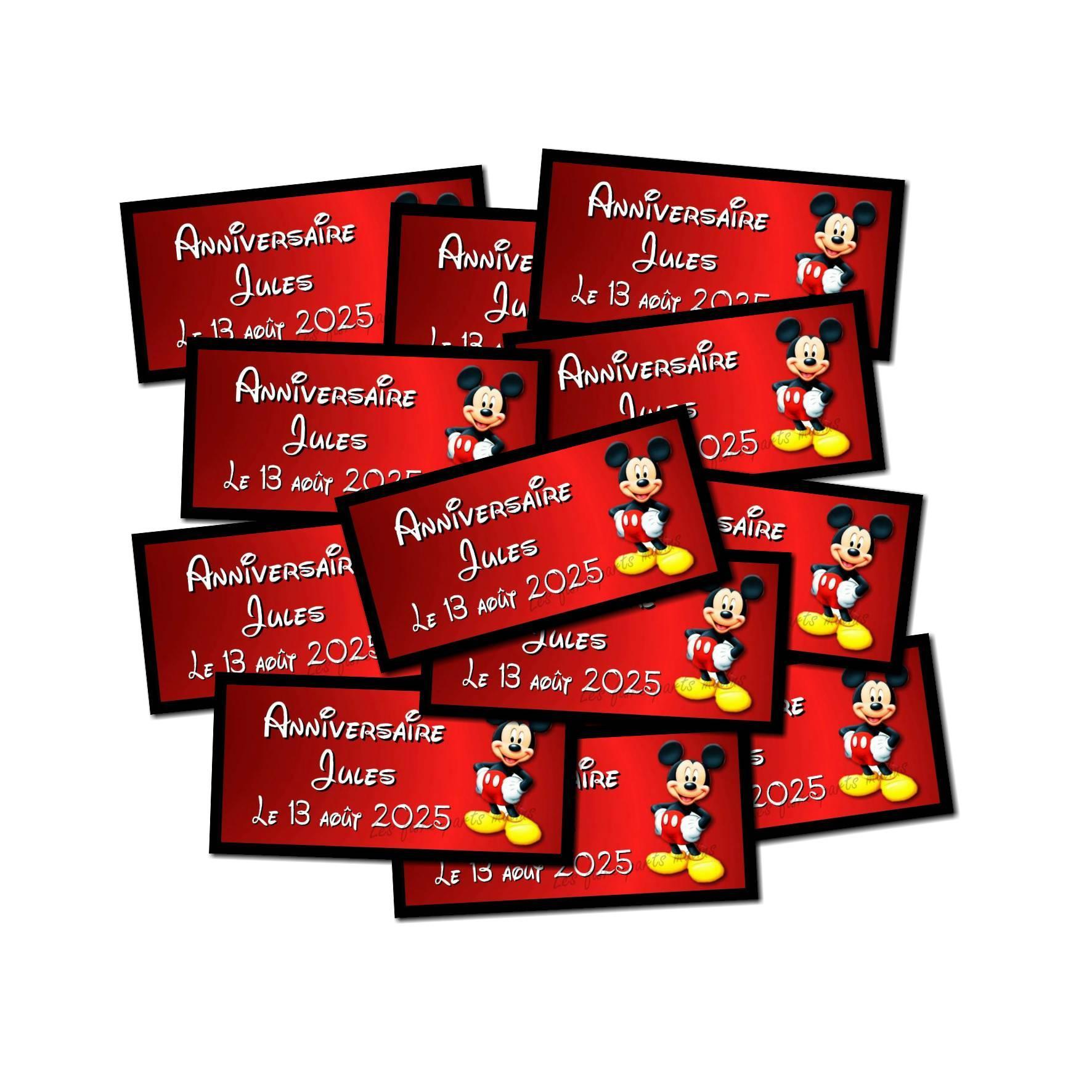 Lot etiquettes dragées mickey noir et rouge