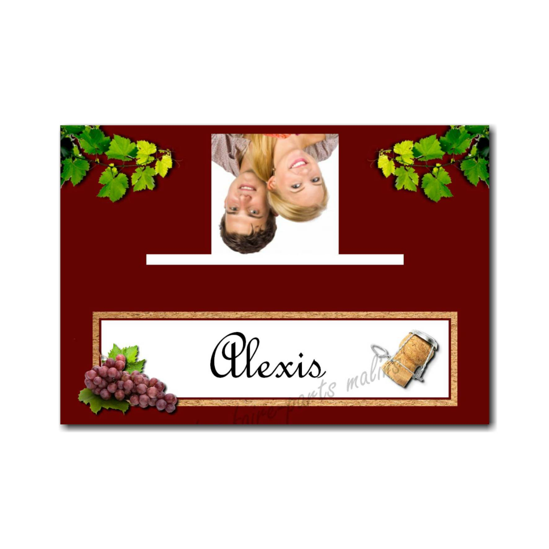 marque-place avec photo feuille de vigne sur fond blanc et bordeau
