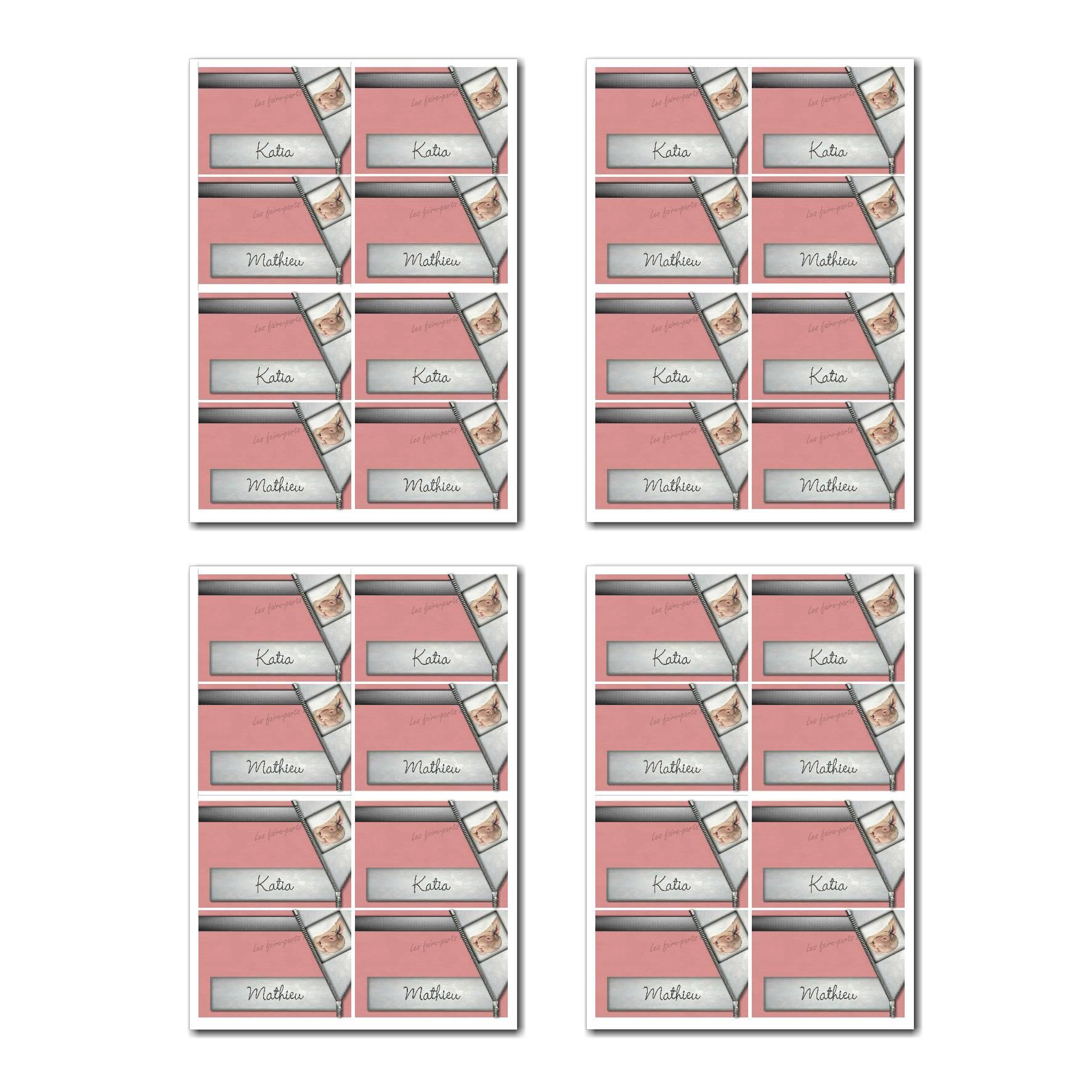 Marque-places prêt à imprimer avec fermeture eclair et bébé