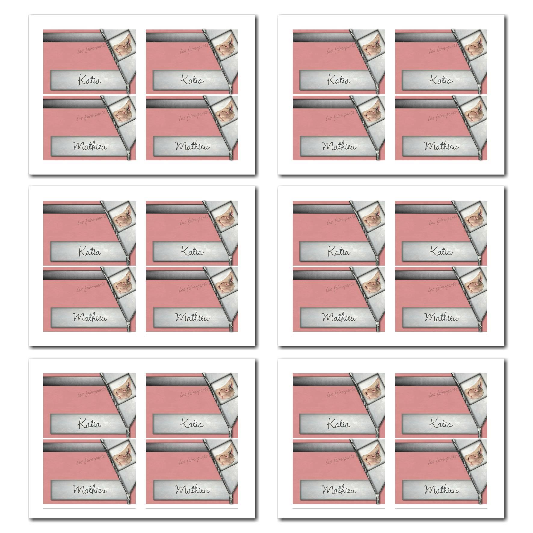 Marque-places illimité rose et gris avec photo surprise