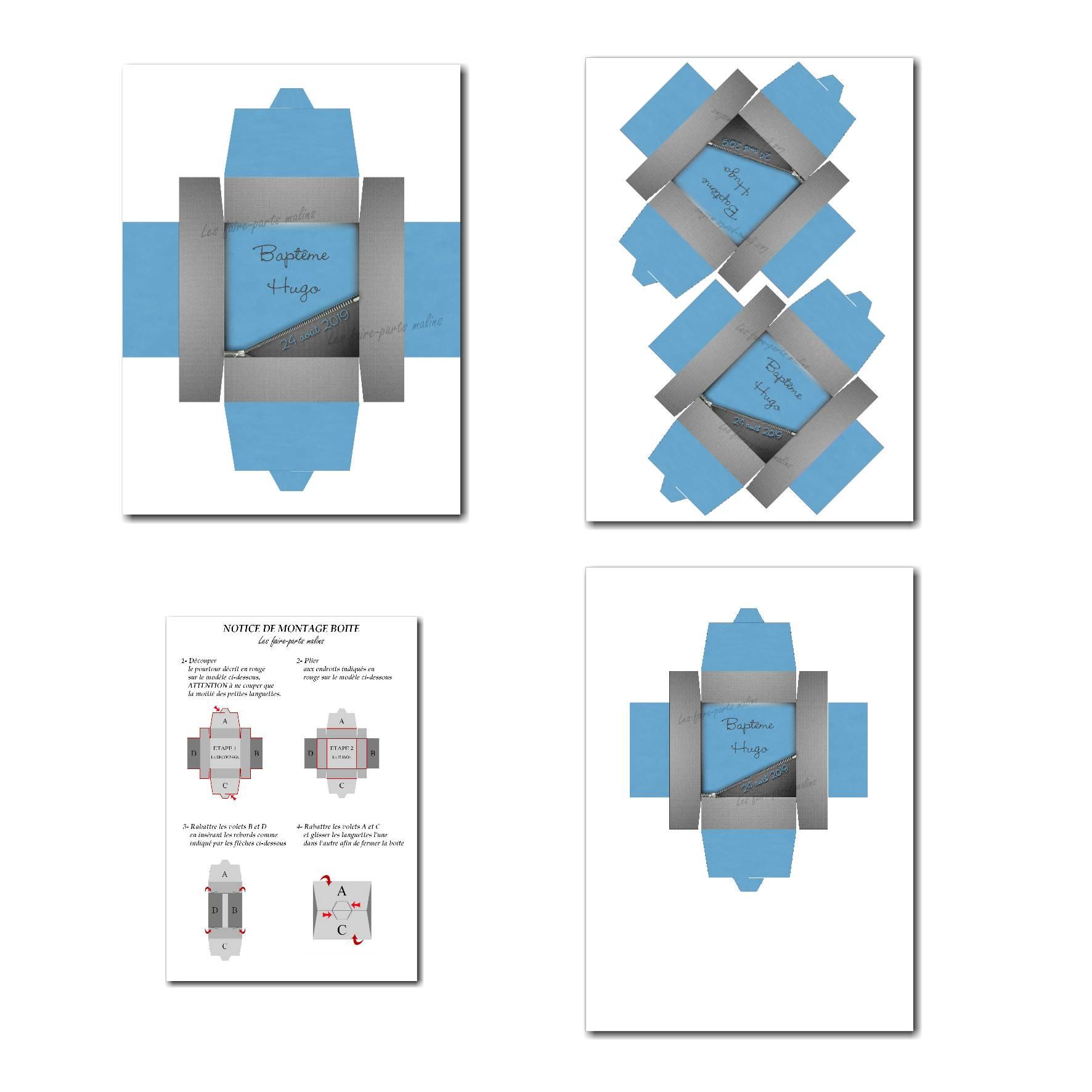 Boite à imprimer bleu et gris foncé