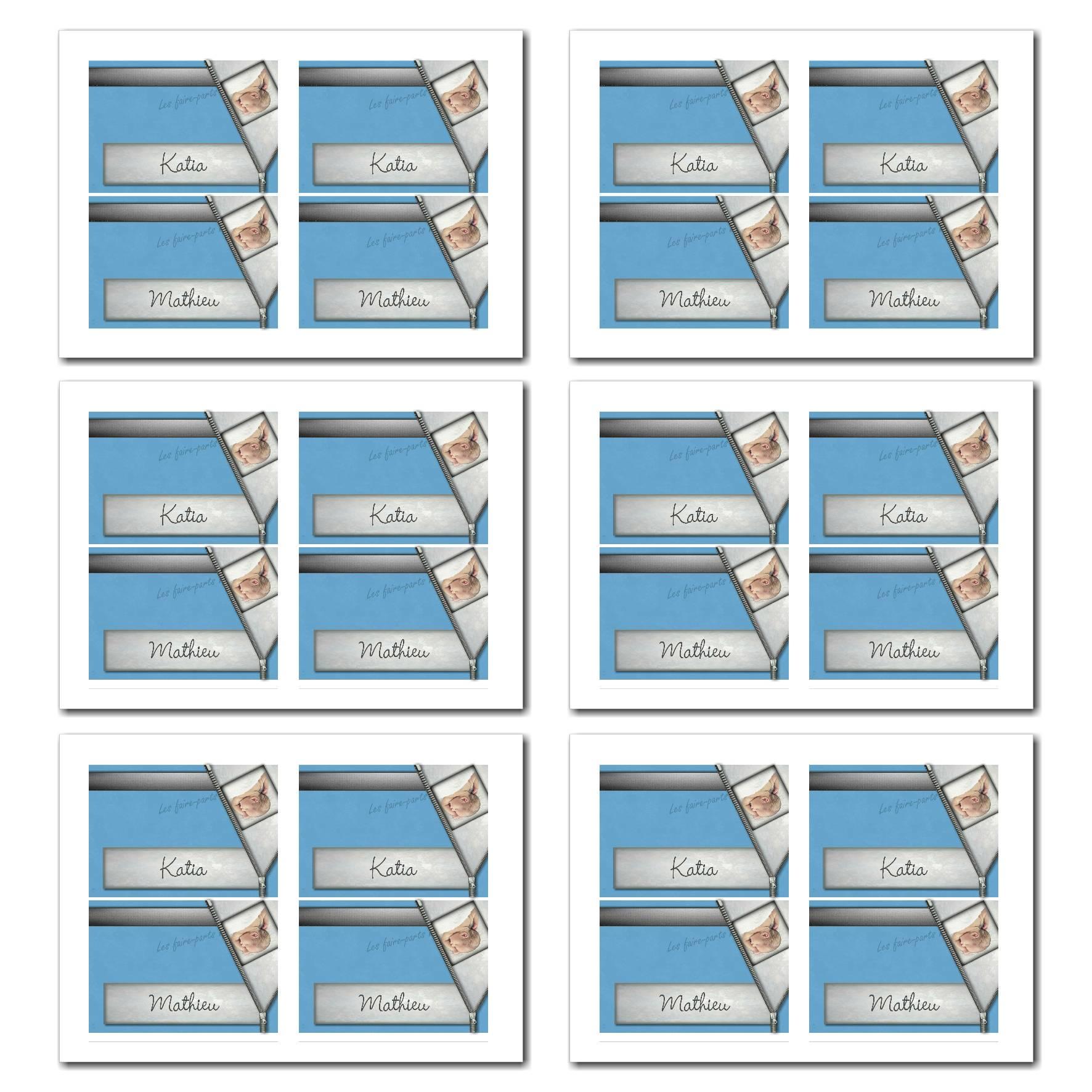 Marque-places illimité bleu et gris avec bébé caché