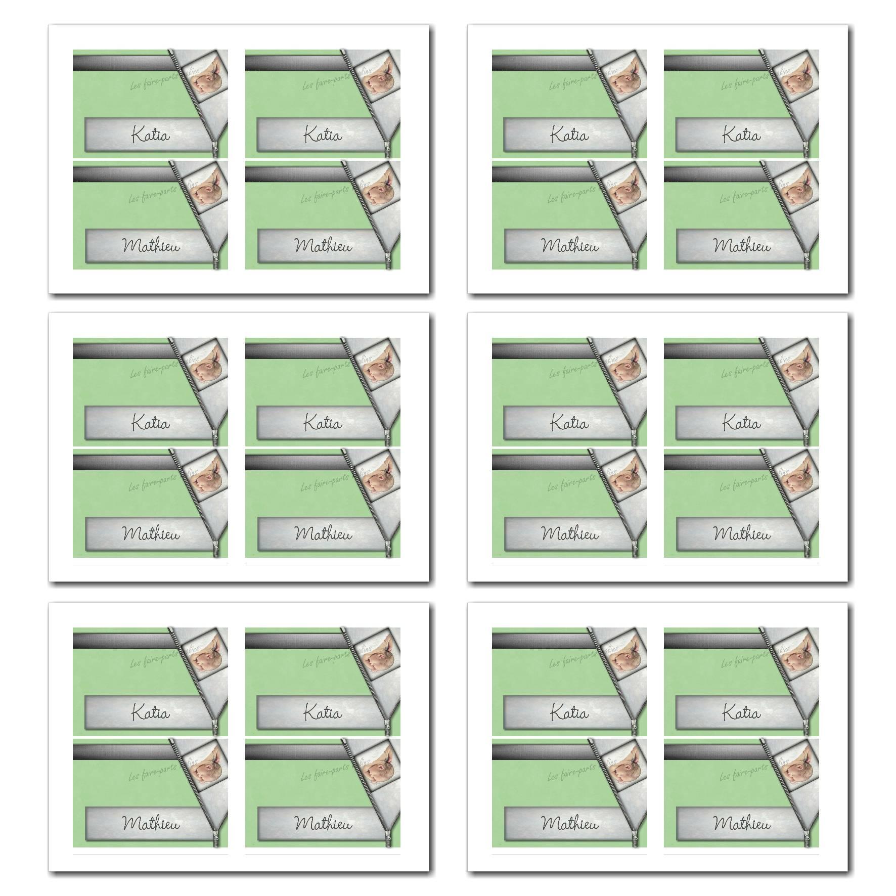 Marque-places avec prénom à imprimer en vert et gris