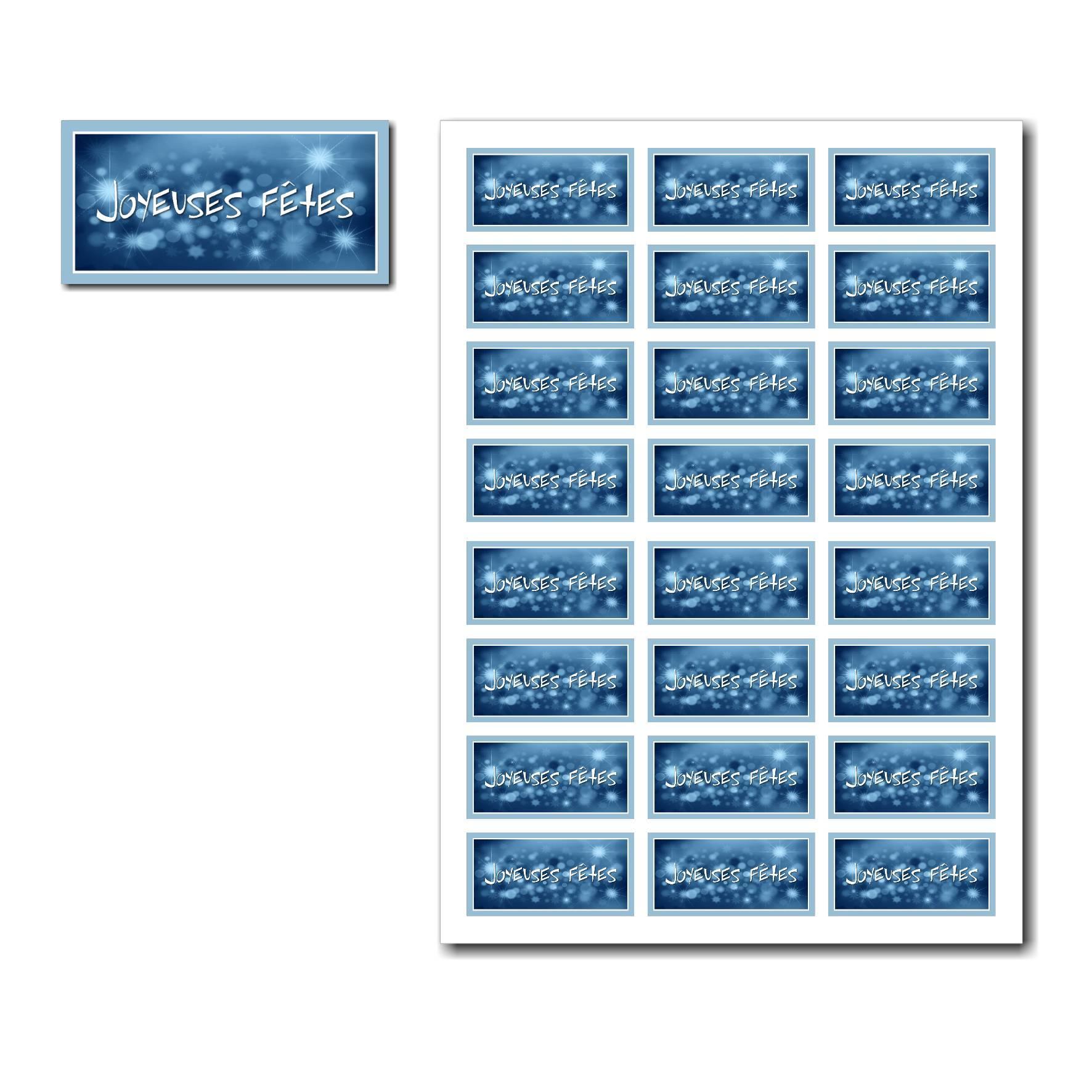 Etiquettes cadeau à imprimer bleu avec étoile