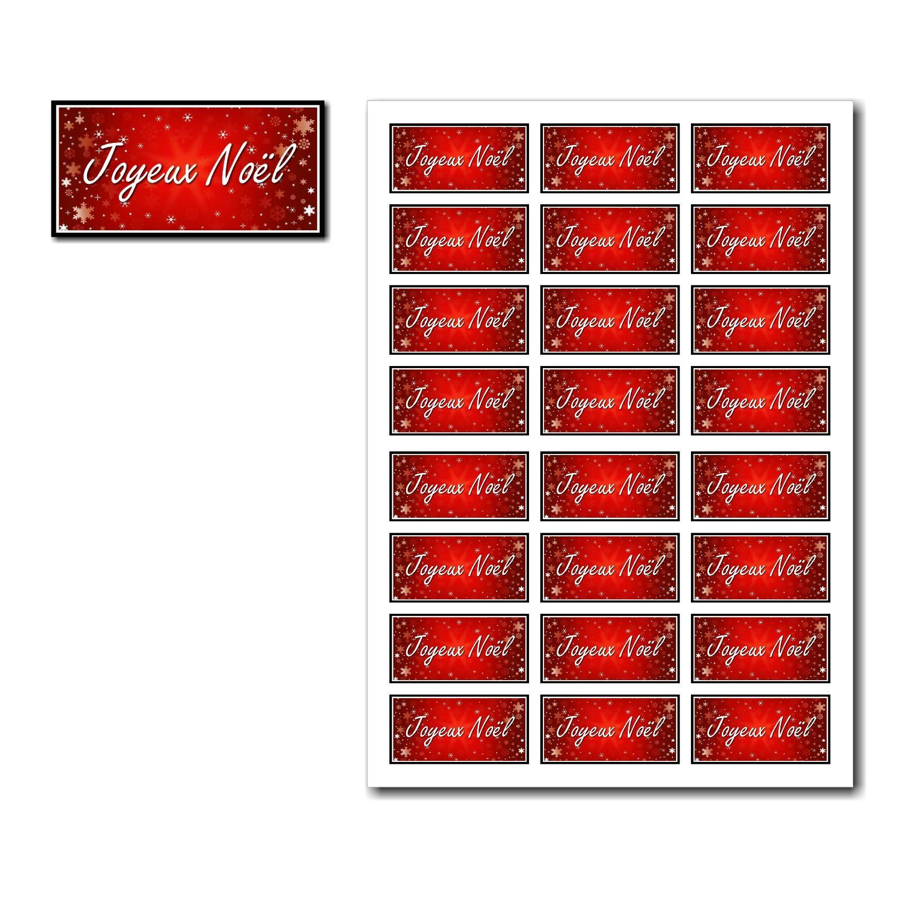 Etiquettes cadeau à imprimer avec flocon rouge et noir