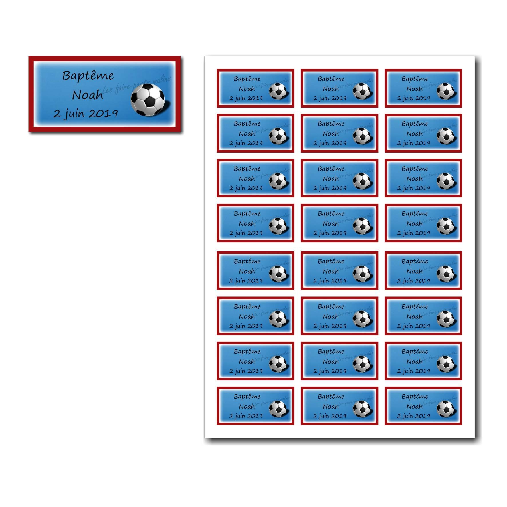 Etiquette dragées à imprimer bleu blanc rouge et ballon de foot