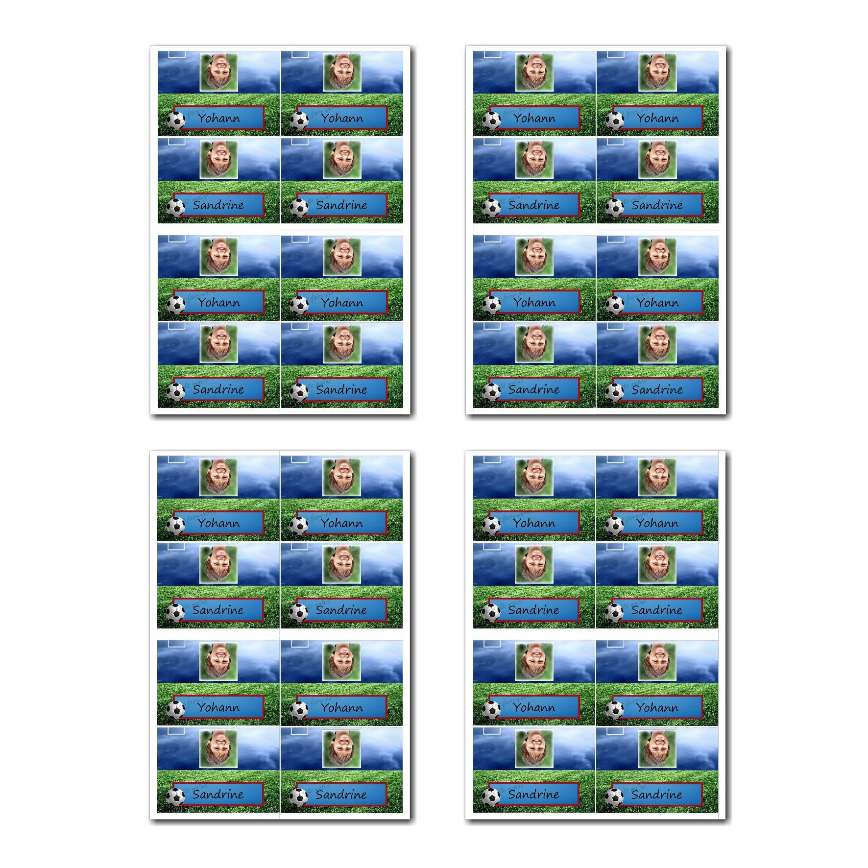 Marque-places prêt à imprimer vert et bleu avec ballon de foot