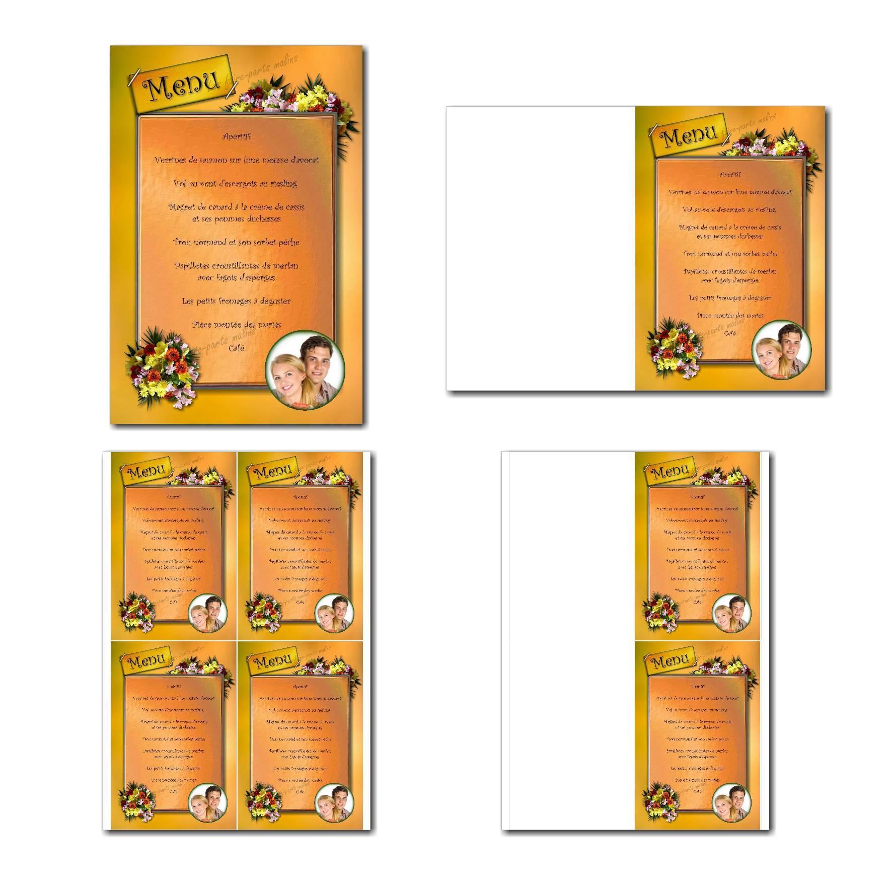 Carte de menu à imprimer bouquet de fleurs jaunes