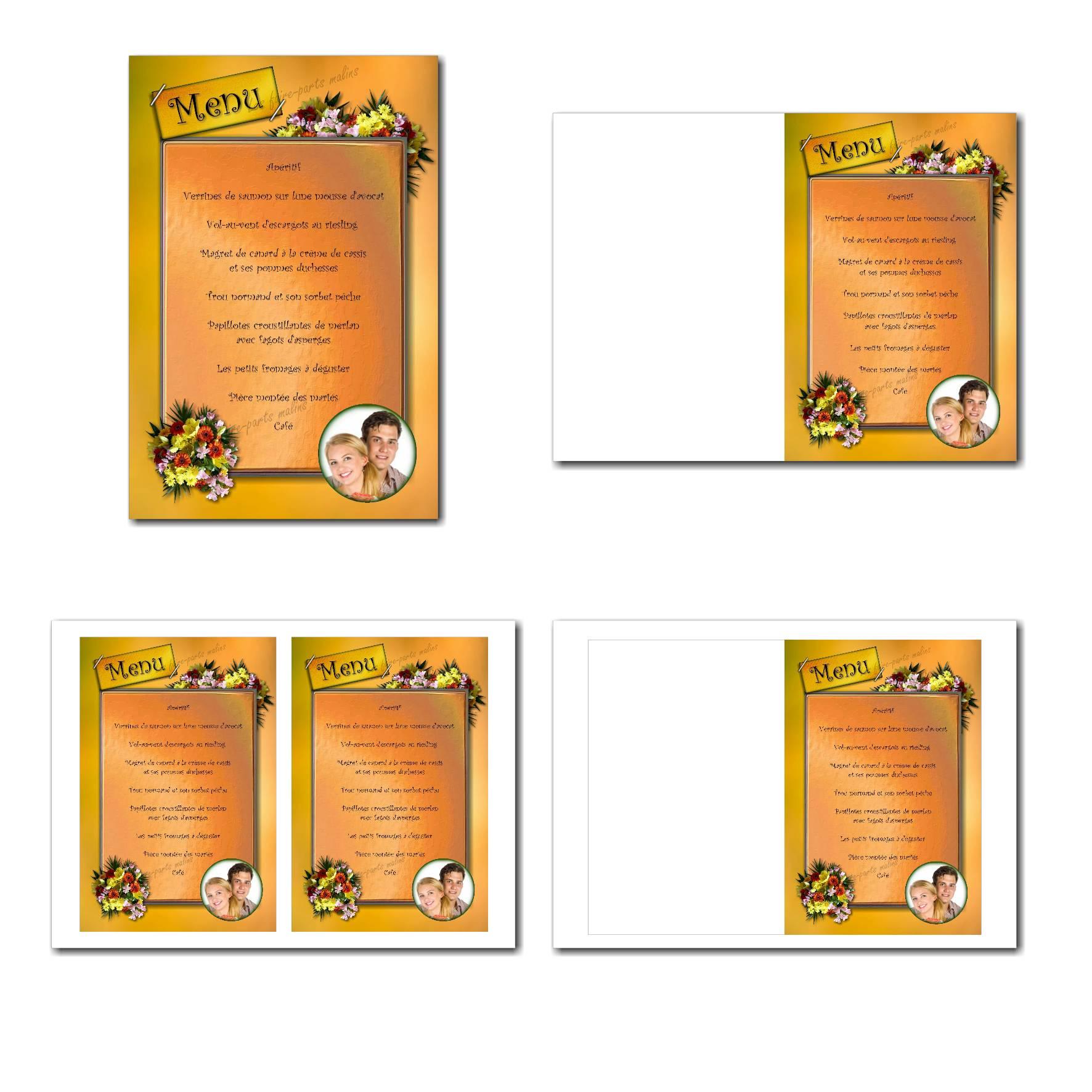 Carte de menu illimité fleur du soleil
