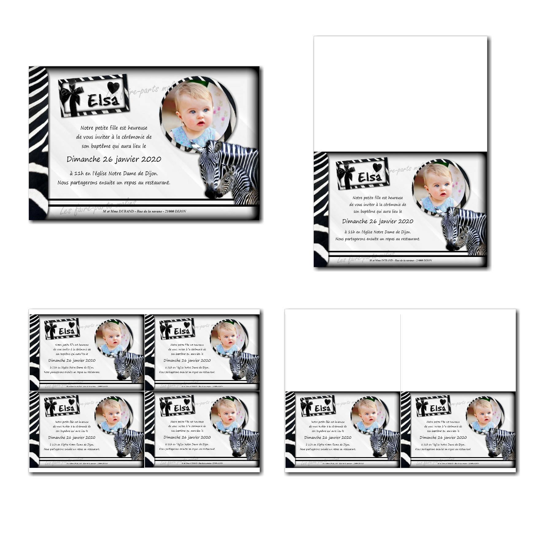 Faire-part à imprimer avec zèbre et fond rayé noir et blanc