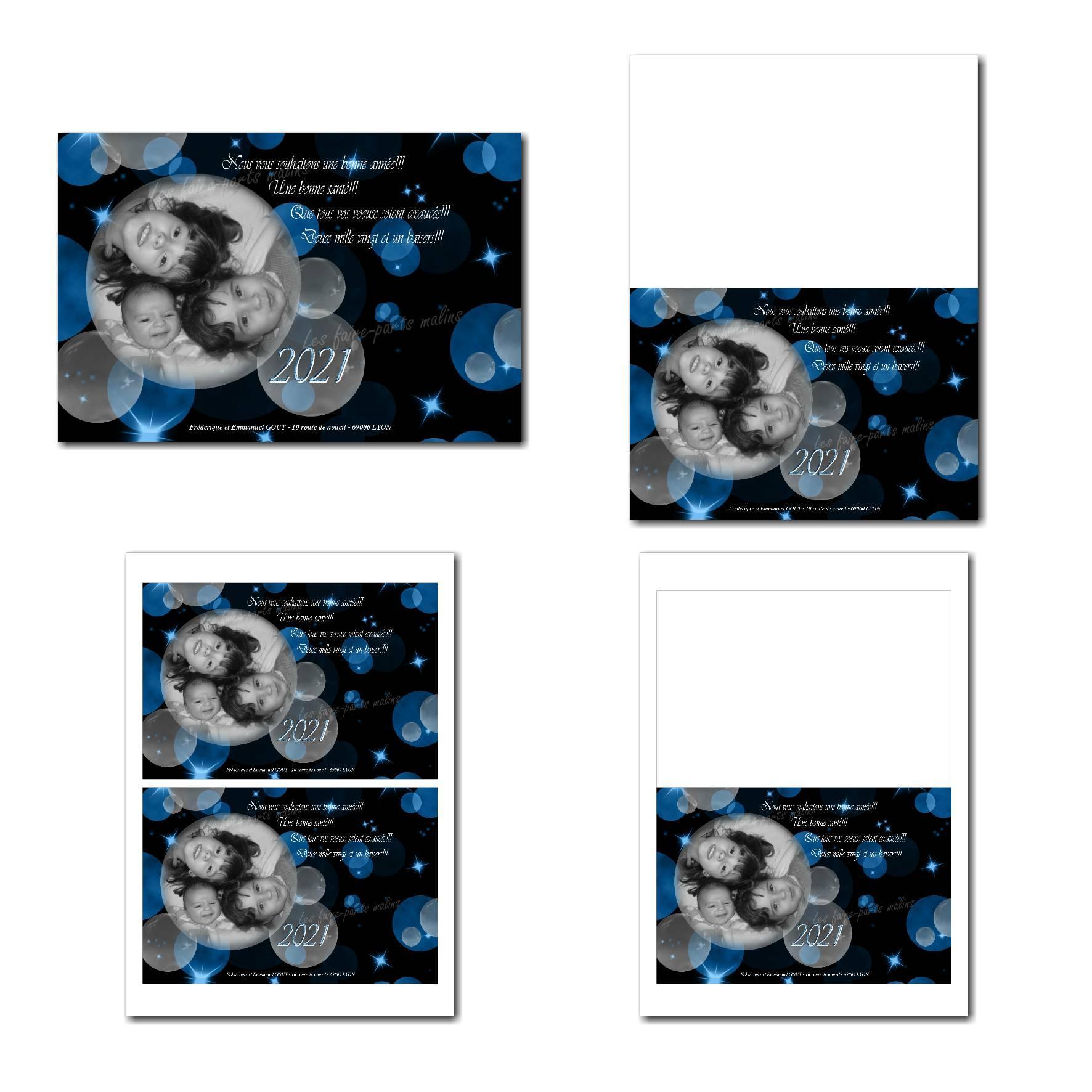 carte de voeux à imprimer avec bulles bleues sur fond sombre