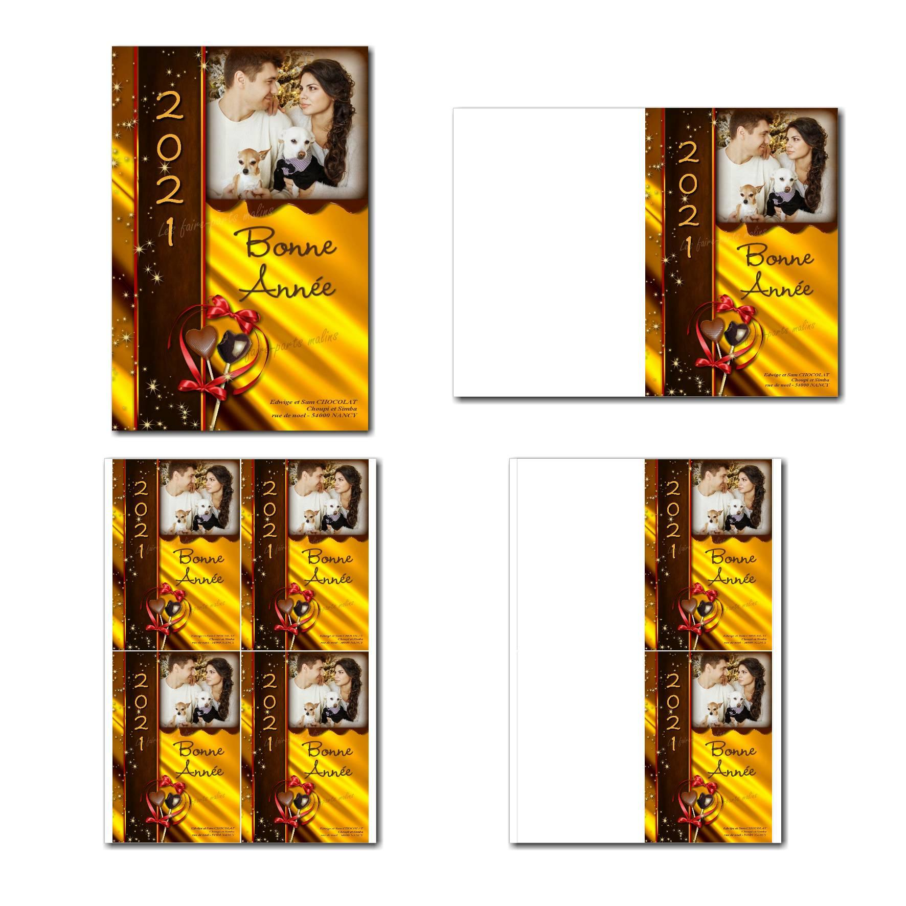 carte de nouvel an à imprimer avec bonbon chocolat