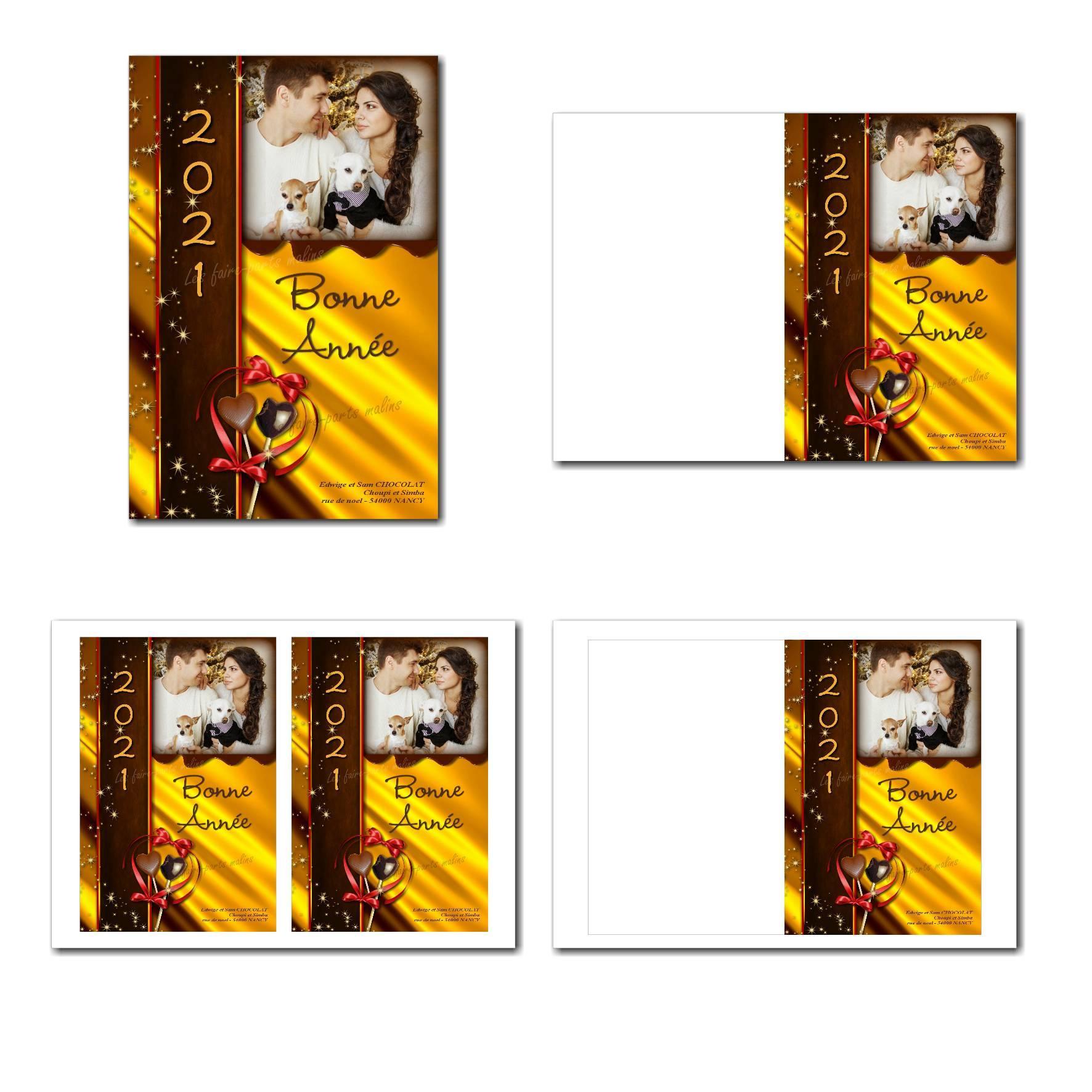 carte de voeux à imprimer avec fond doré et chocolat gourmand