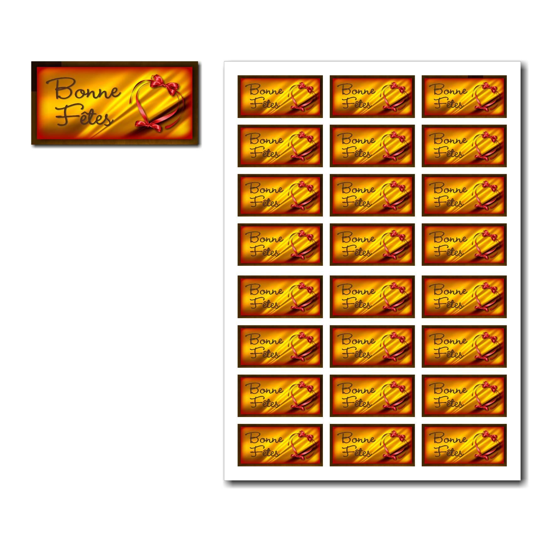 Etiquettes cadeau à imprimer avec fond or et ruban