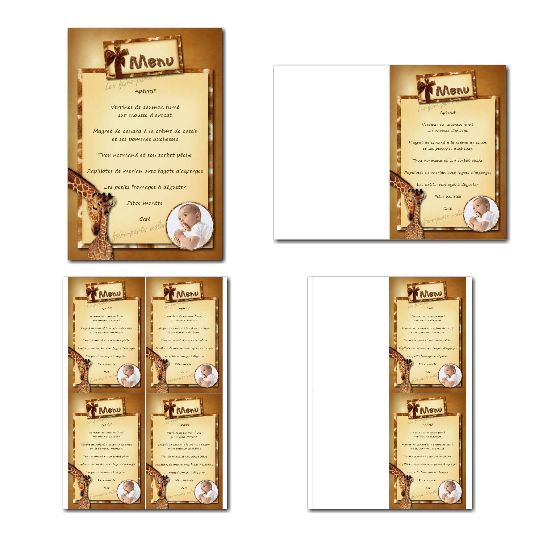 Carte de menu à imprimer avec tendres girafes