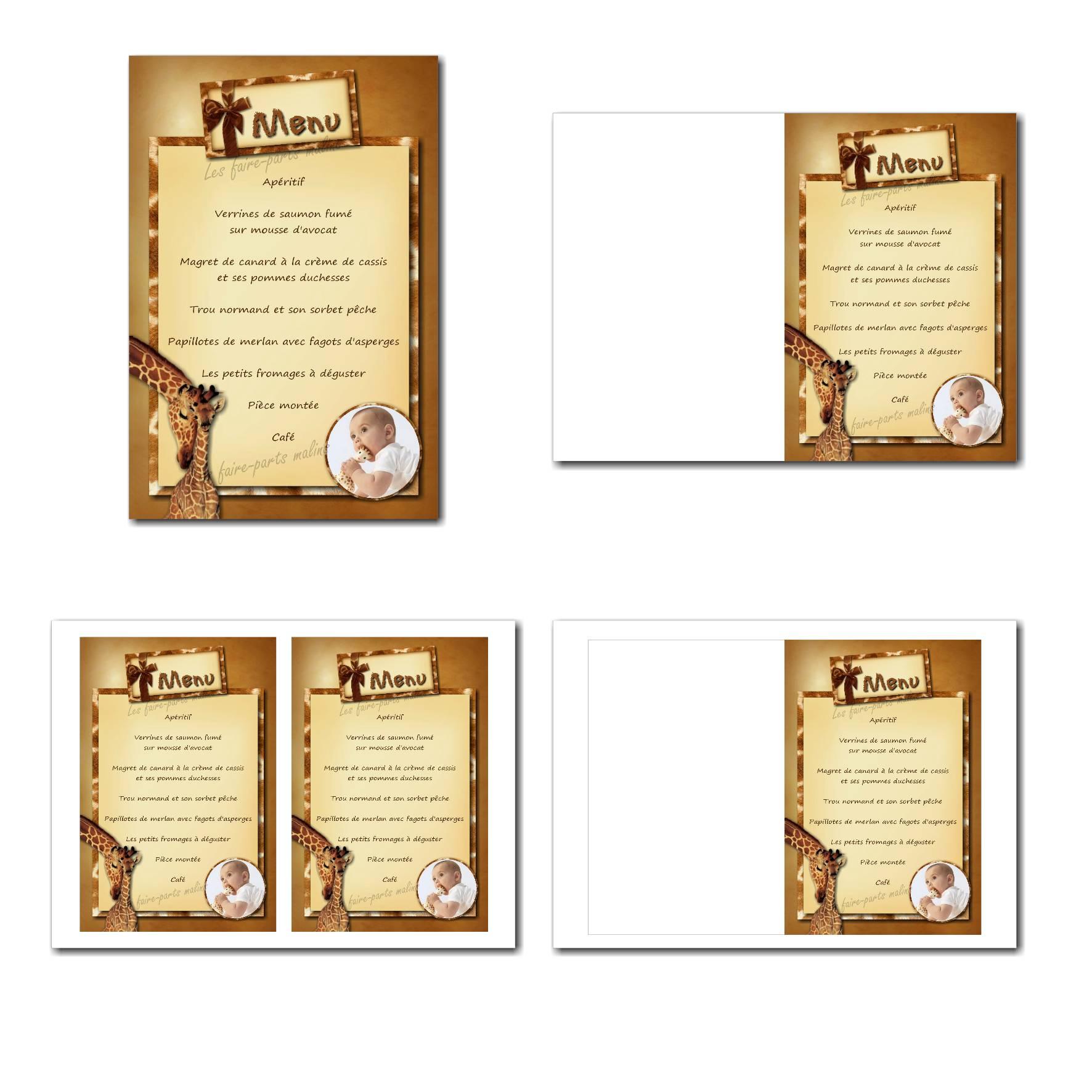 Carte de menu illimité avec fond girafe