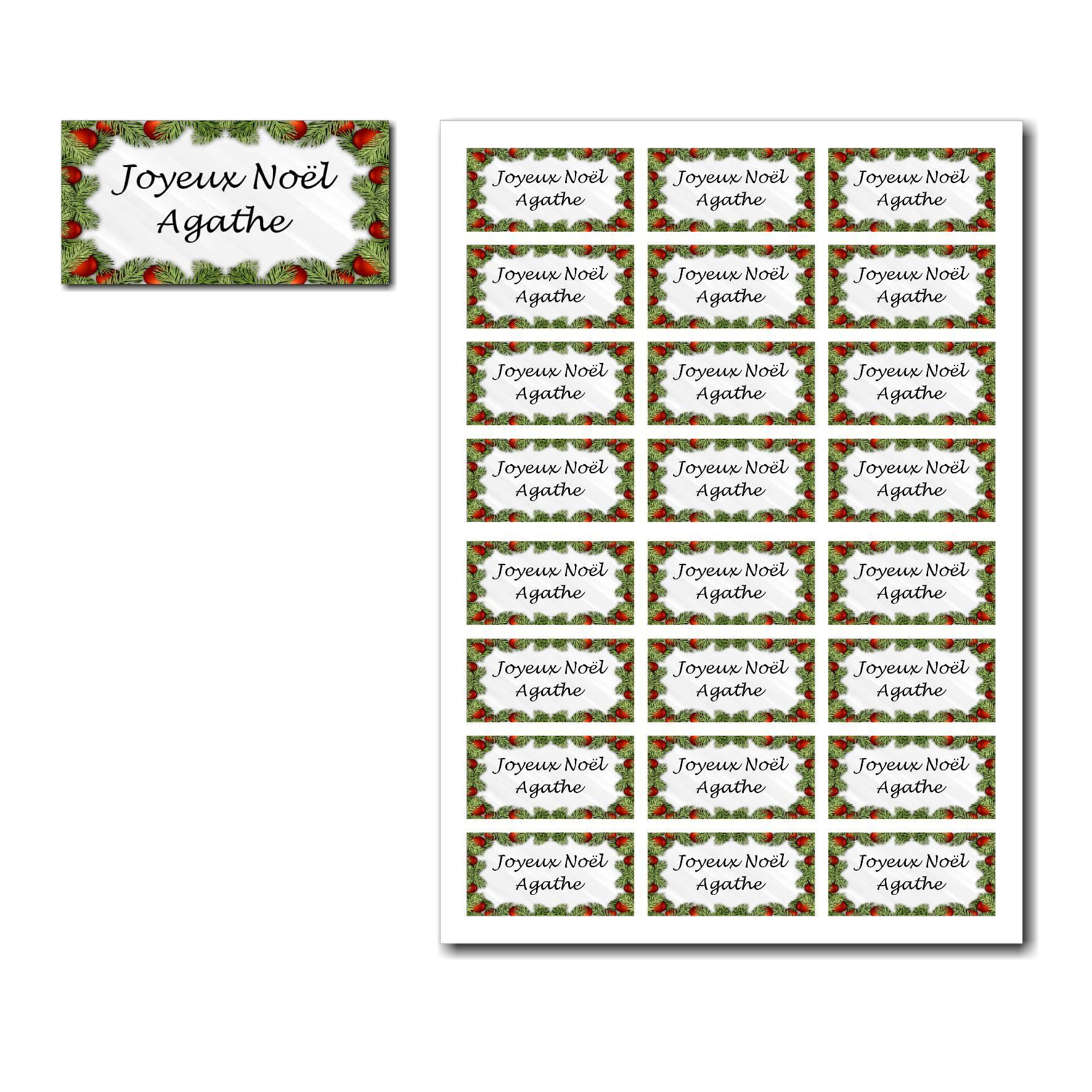 Etiquettes cadeau à imprimer avec cadre sapin décoré