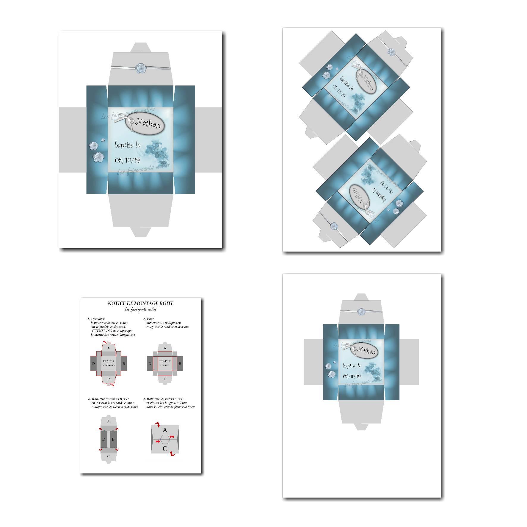 Boite à imprimer bleu et gris clair avec fleur