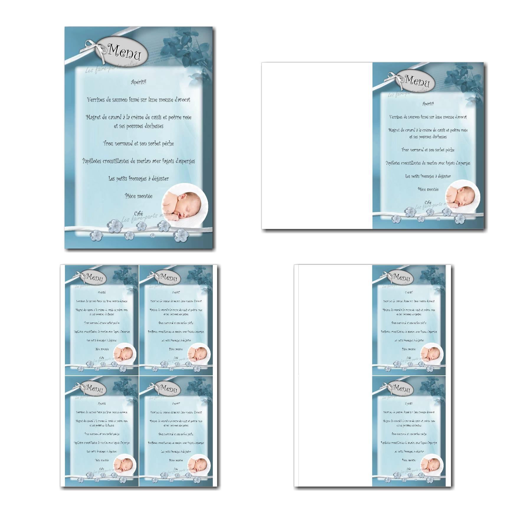 Carte de menu prêt à imprimer bleu avec photo