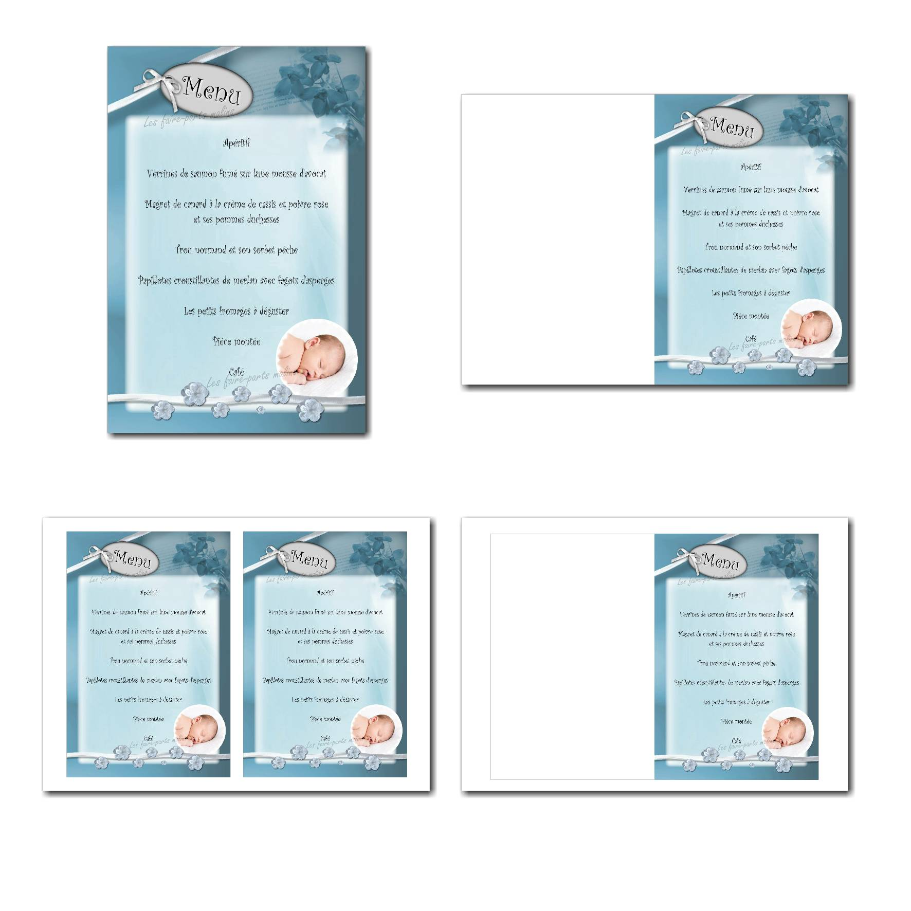 Carte de menu illimité bleu et blanc avec photo enfant