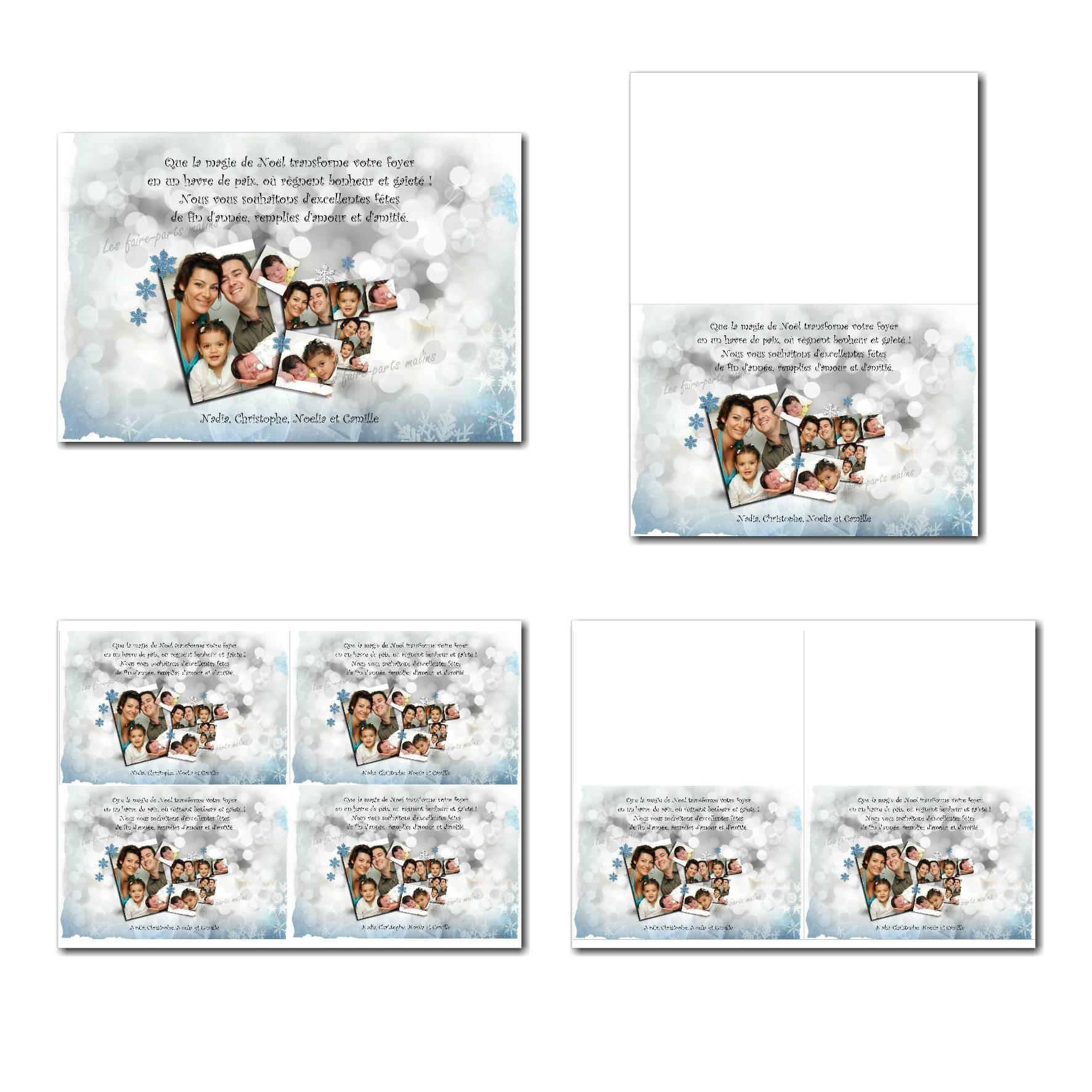 carte de voeux à imprimer souvenir d'hiver