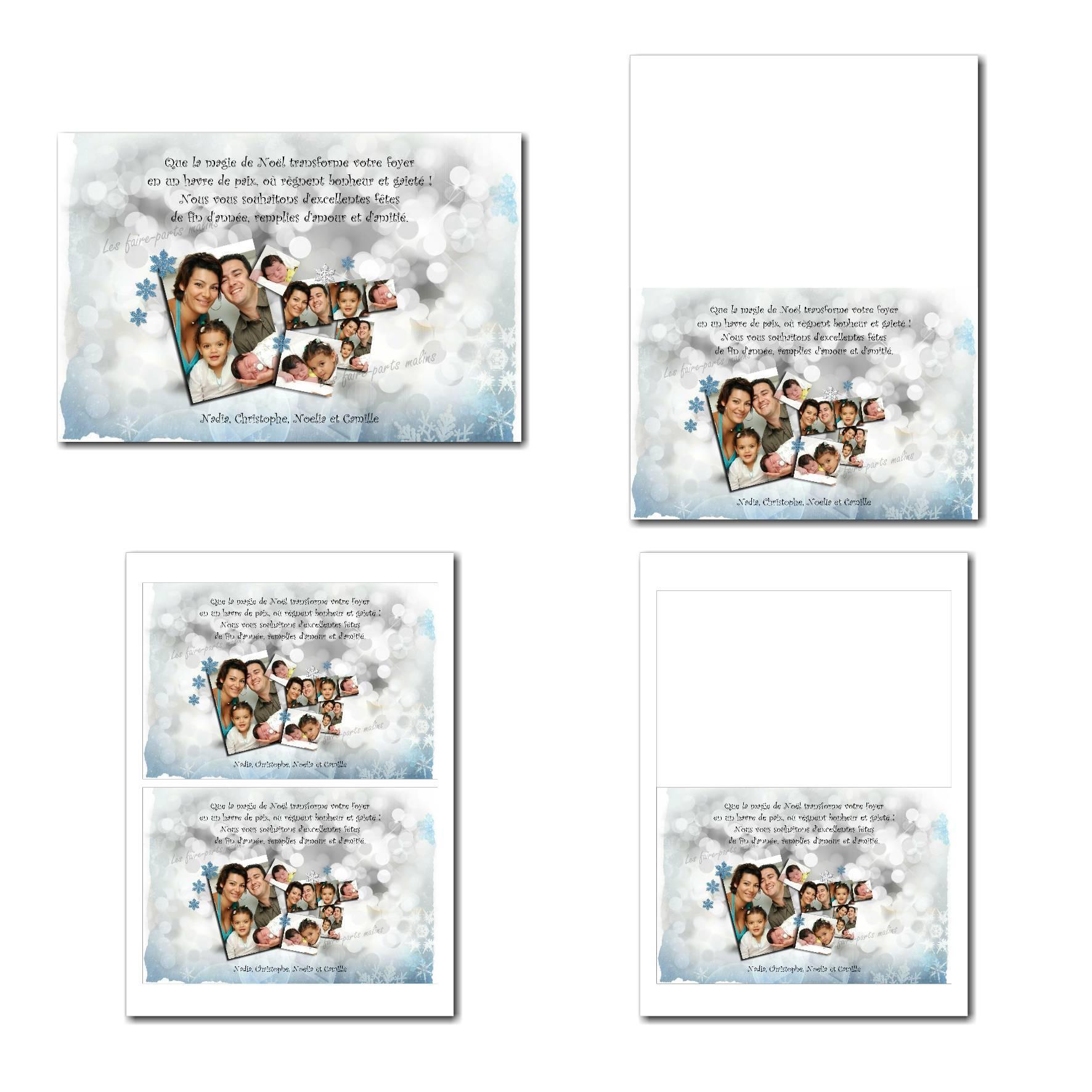 carte de nouvel an à imprimer fond floconneux